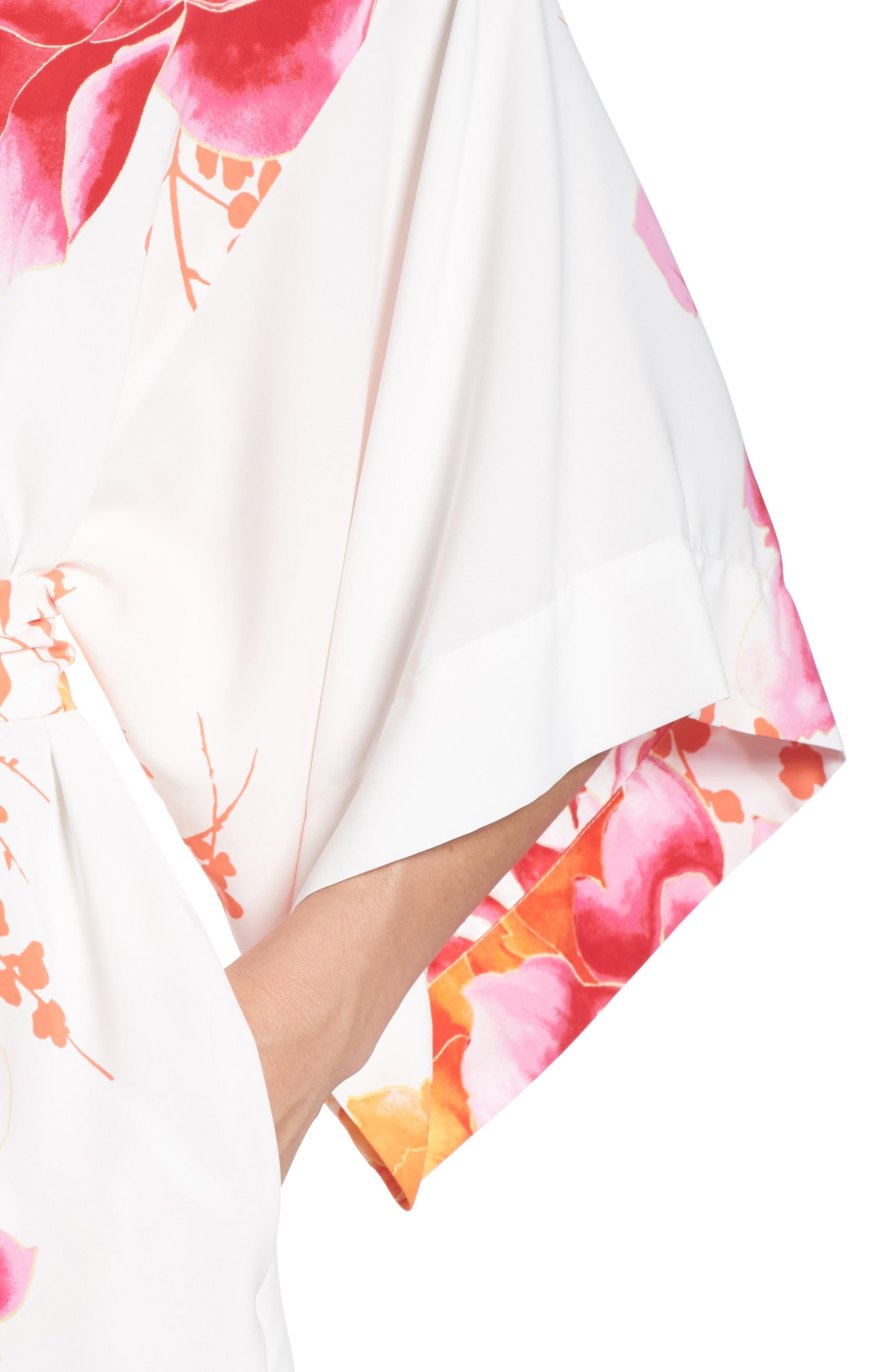 Bali Floral Print Robe,                             Alternate thumbnail 4, color,