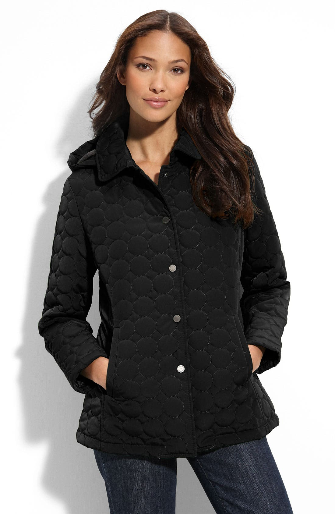 CALVIN KLEIN,                             Circle Quilted Jacket,                             Main thumbnail 1, color,                             001