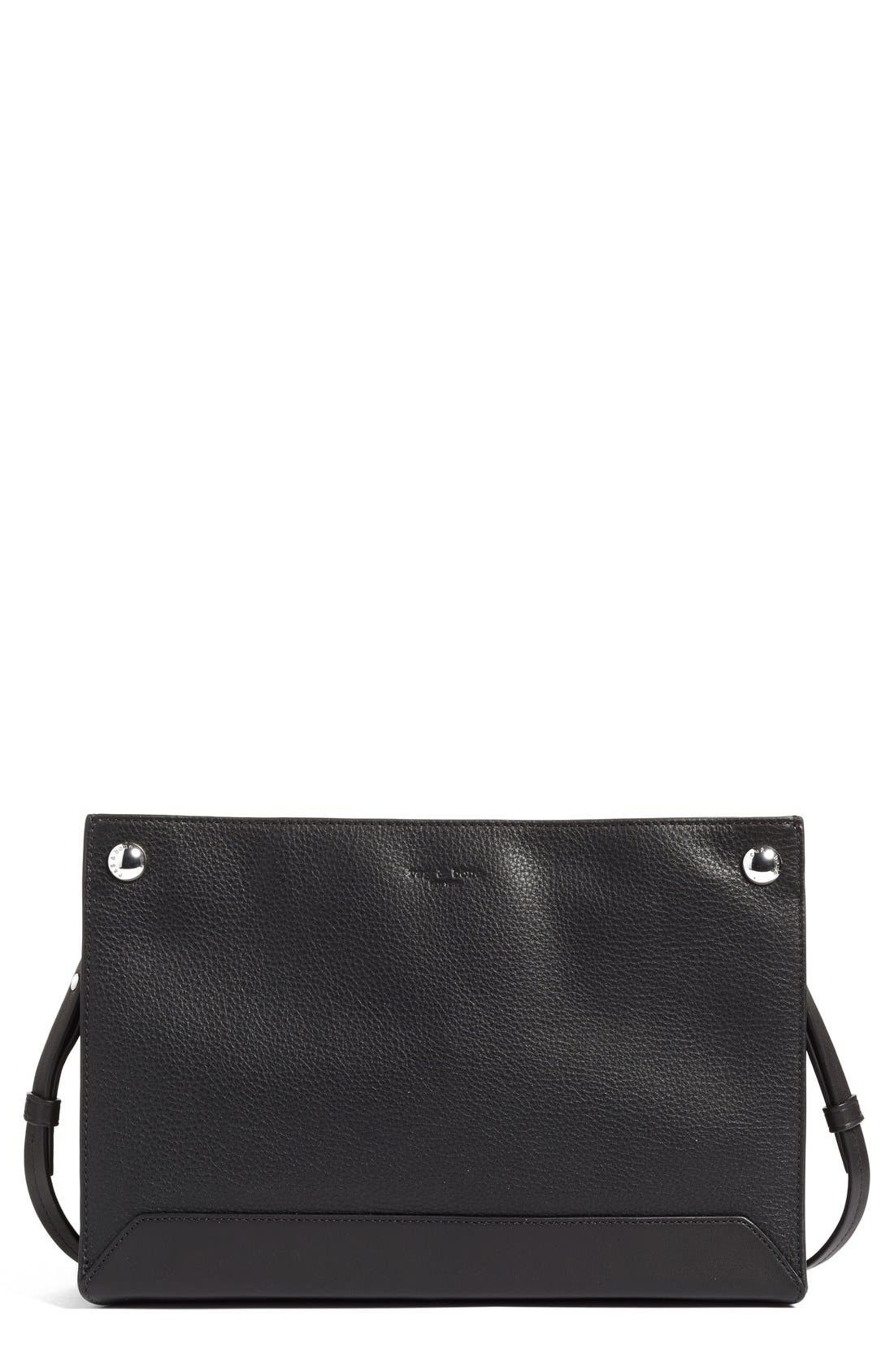 Compass Leather Crossbody Bag,                         Main,                         color, BLACK