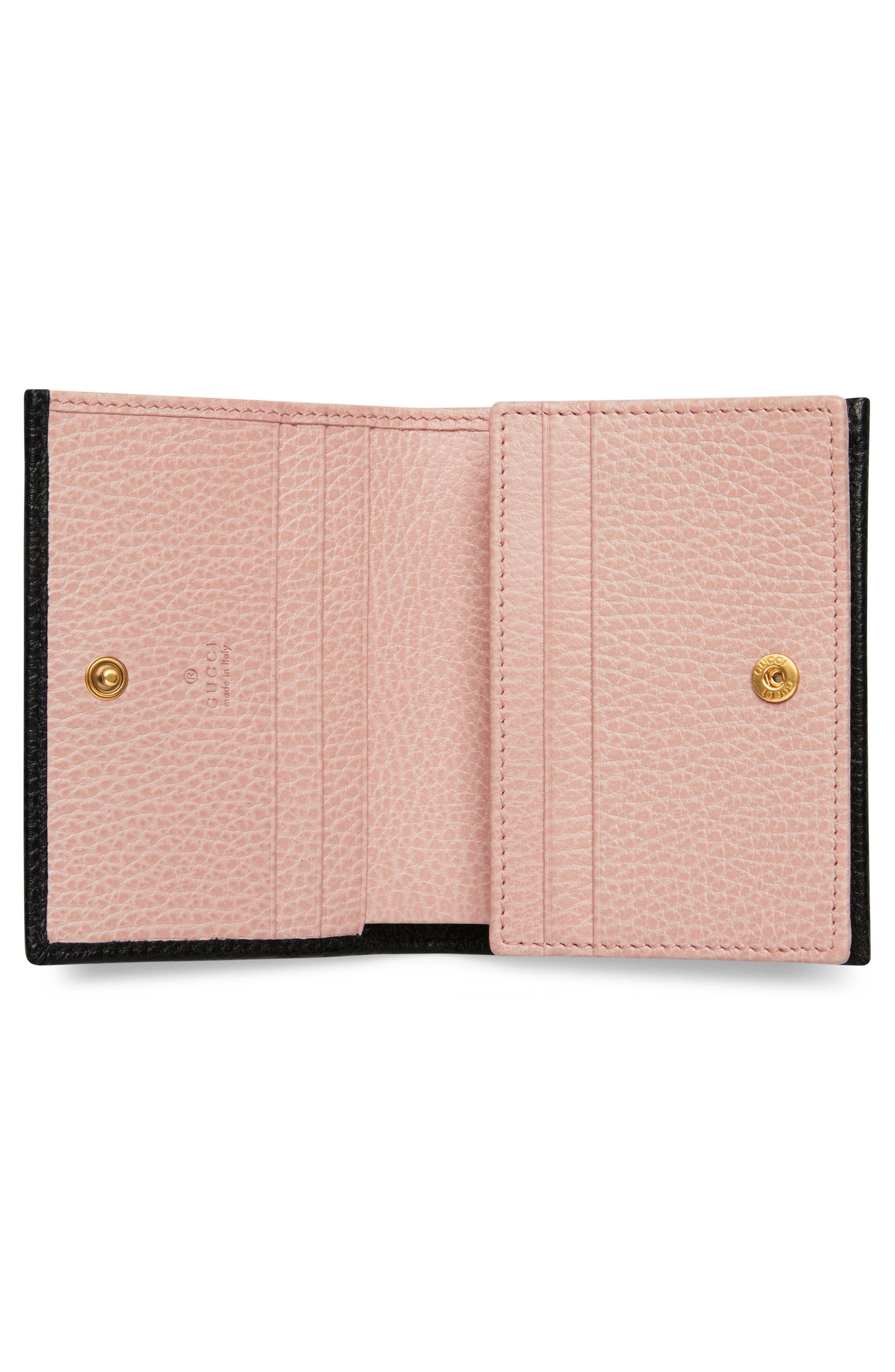 Fiocchino Leather Card Case,                             Alternate thumbnail 2, color,                             NERO/ PERFECT PINK/ CRYSTAL