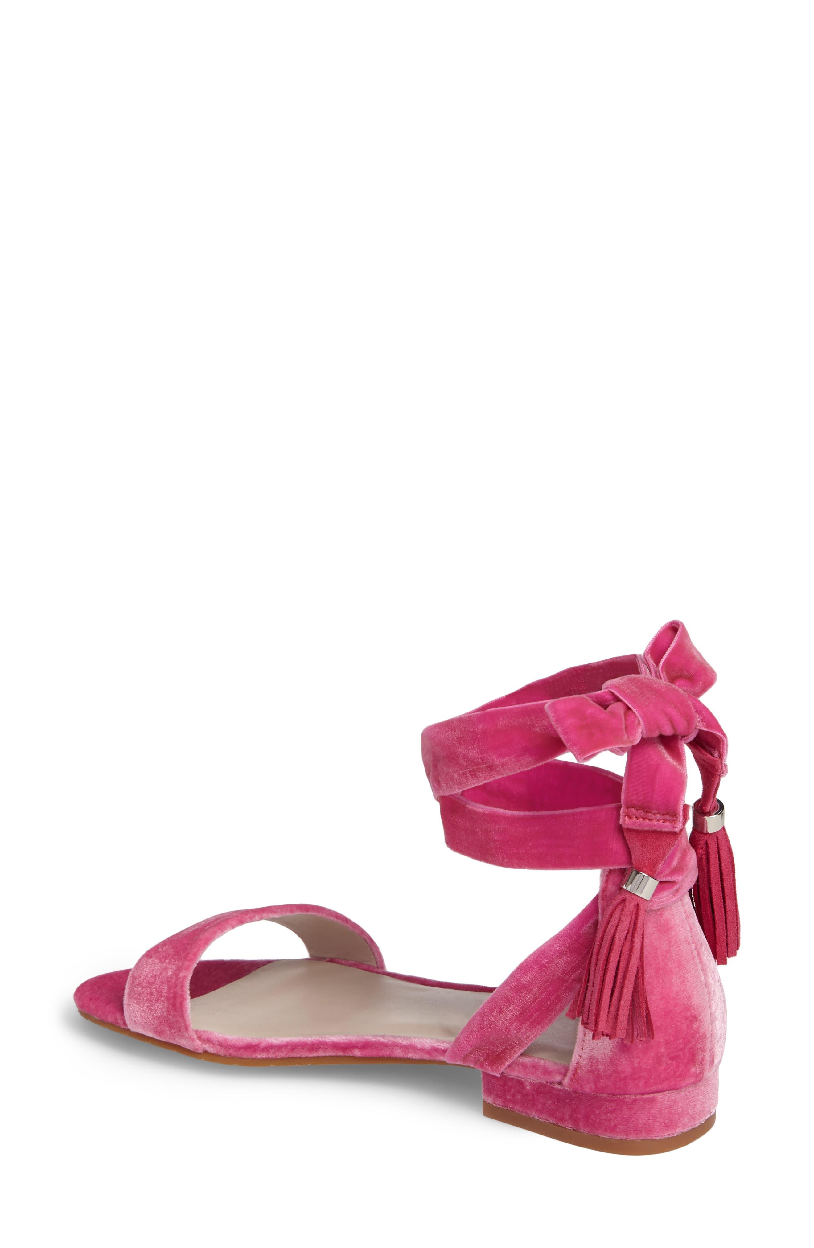 Valen Tassel Lace-Up Sandal,                             Alternate thumbnail 2, color,                             FUCHSIA VELVET