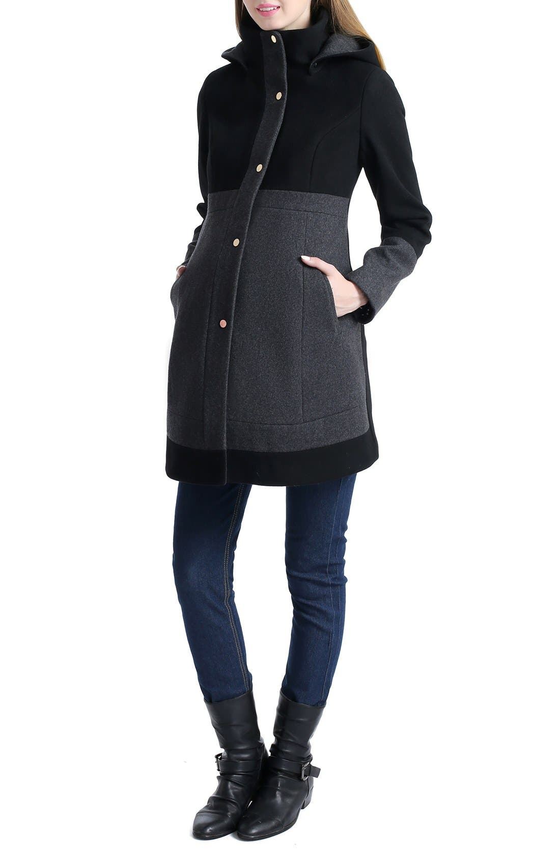 'Tessa' Colorblock Maternity Coat,                             Alternate thumbnail 2, color,                             BLACK