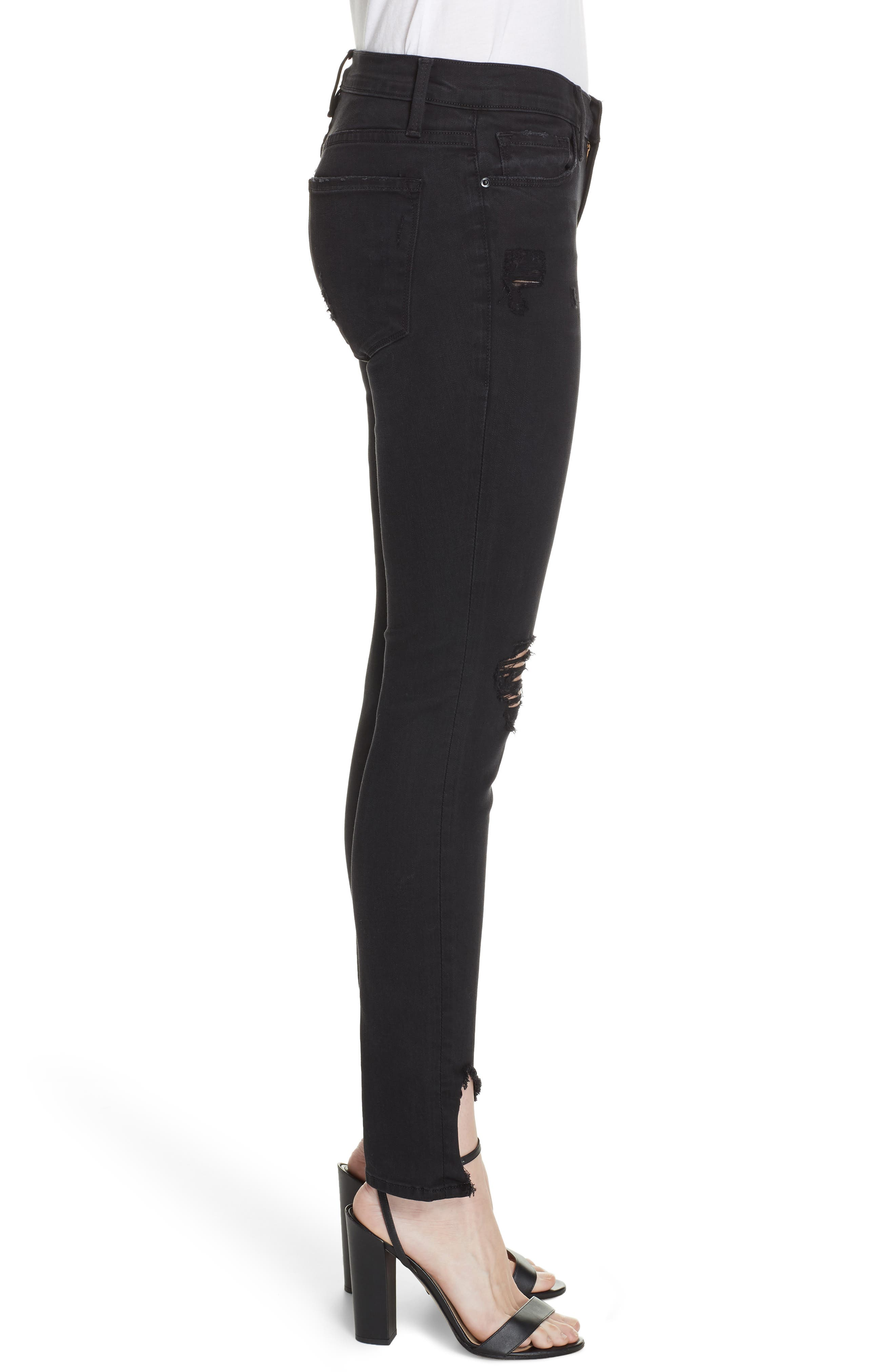 Le Skinny de Jeanne Ripped Skinny Jeans,                             Alternate thumbnail 3, color,                             HATHAWAY