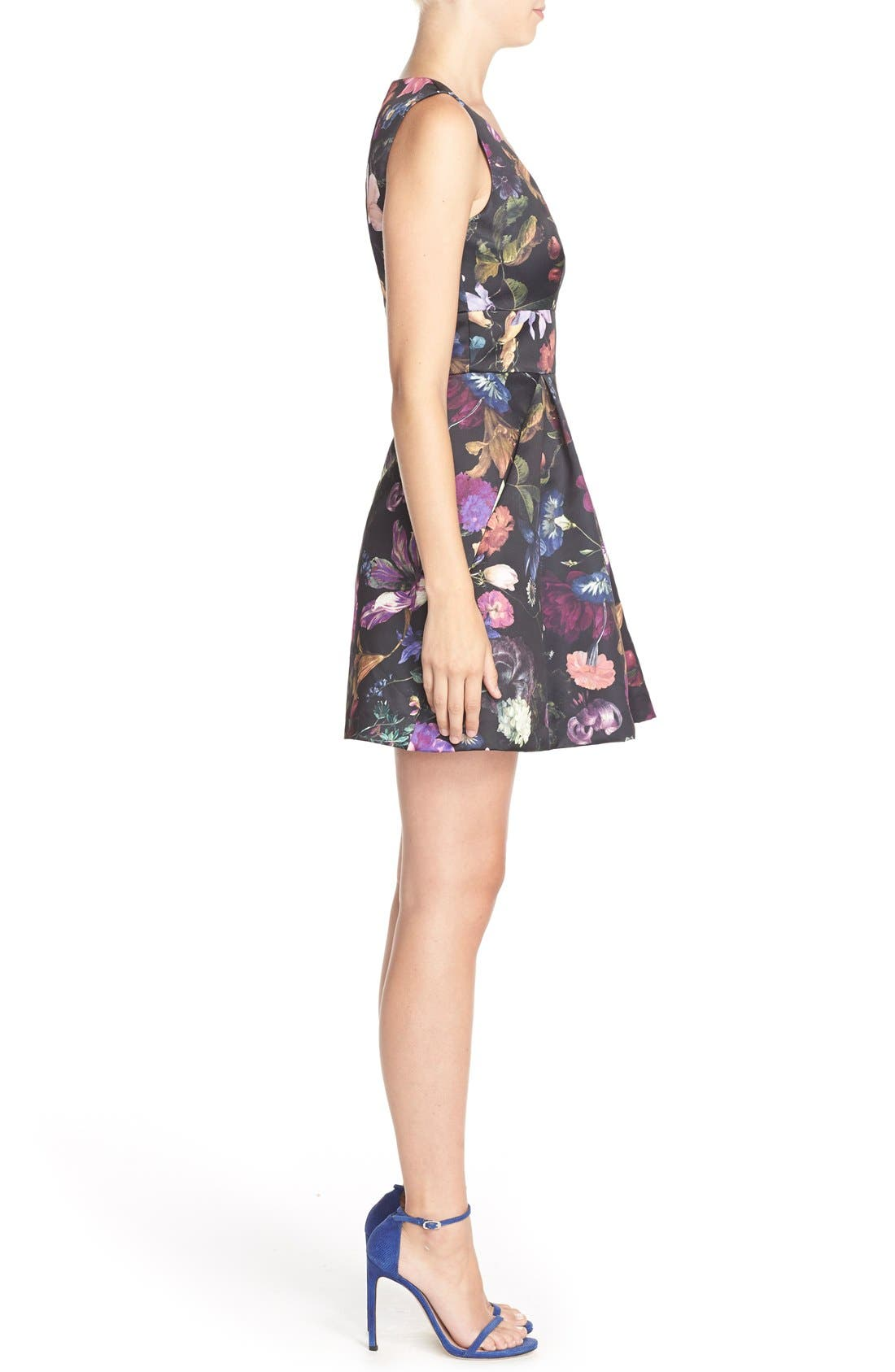 Cythia Rowley 'Winter' Floral Print Woven Fit & Flare Dress,                             Alternate thumbnail 3, color,                             009