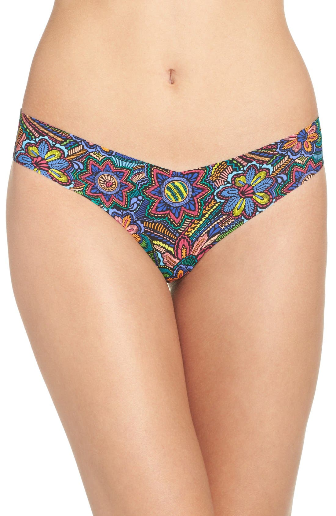 Print Microfiber Thong,                             Main thumbnail 72, color,