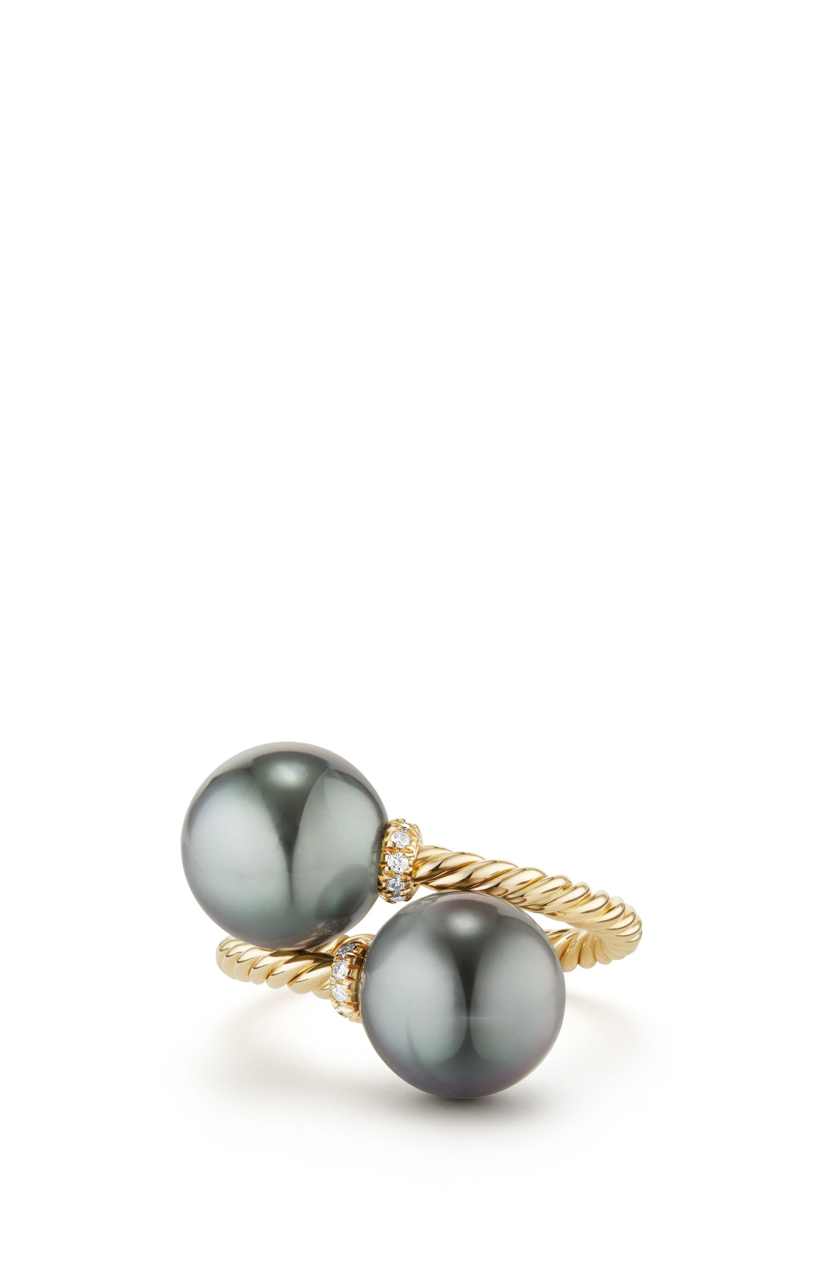 Solari Bypass Ring with Diamond in 18K Gold,                             Main thumbnail 1, color,                             GOLD/ DIAMOND/ GREY PEARL