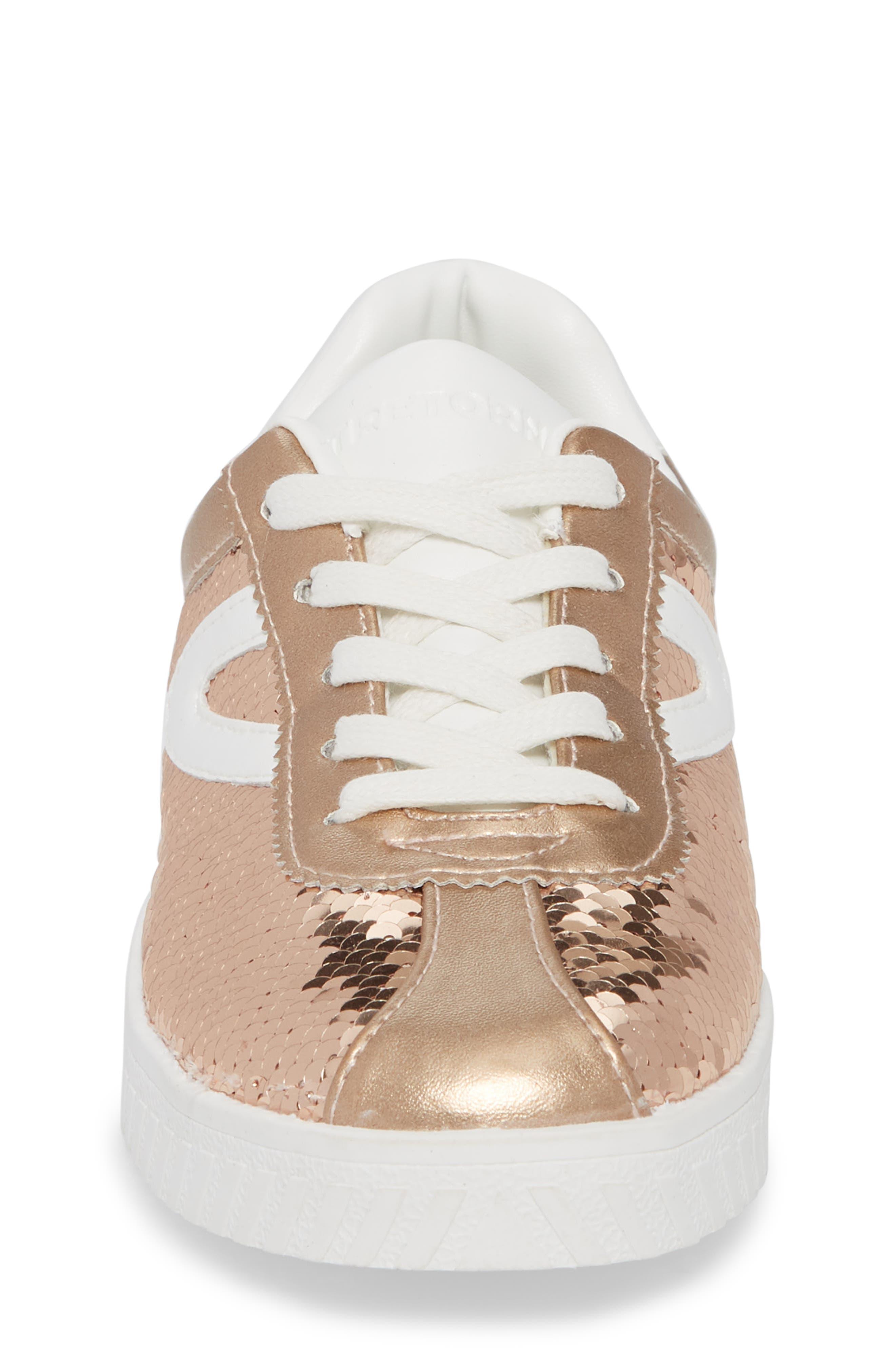 Camden Sequin Low Top Sneaker,                             Alternate thumbnail 4, color,                             DARK PINK