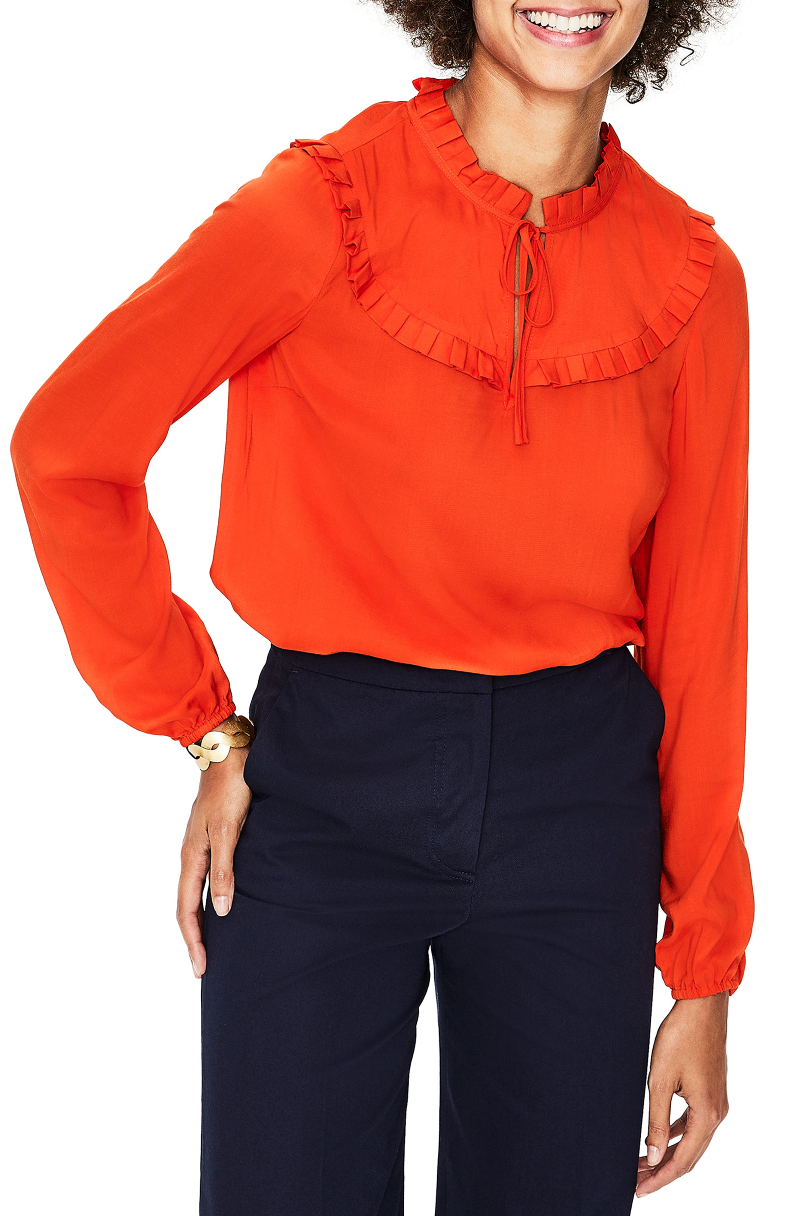 Betsy Ruffle Top, Main, color, RED POP