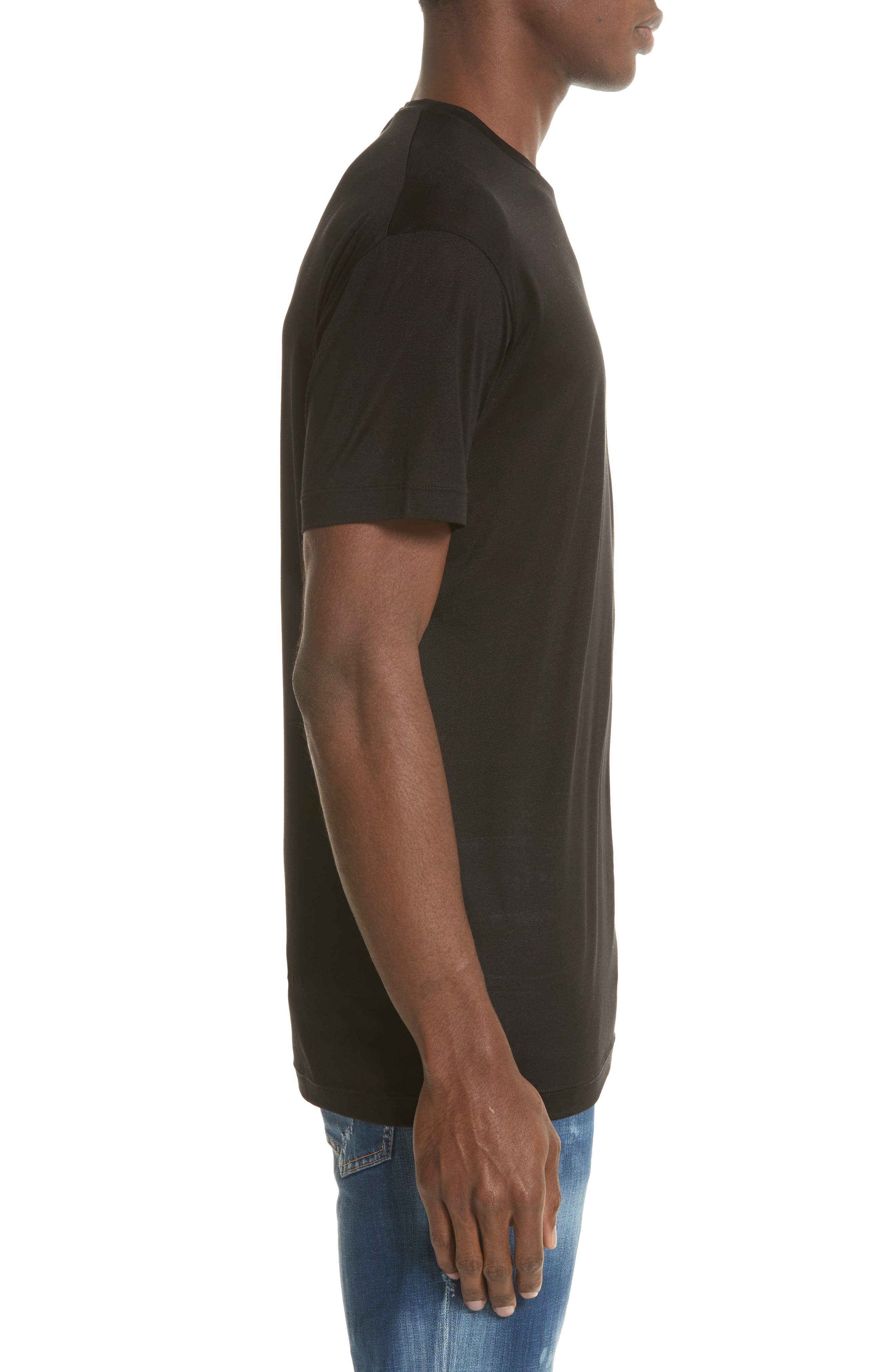 Silk Jersey T-Shirt,                             Alternate thumbnail 3, color,                             001
