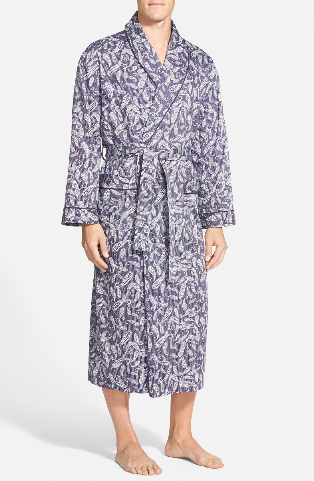 'Mosaic' Terry Lined Sateen Robe,                         Main,                         color,