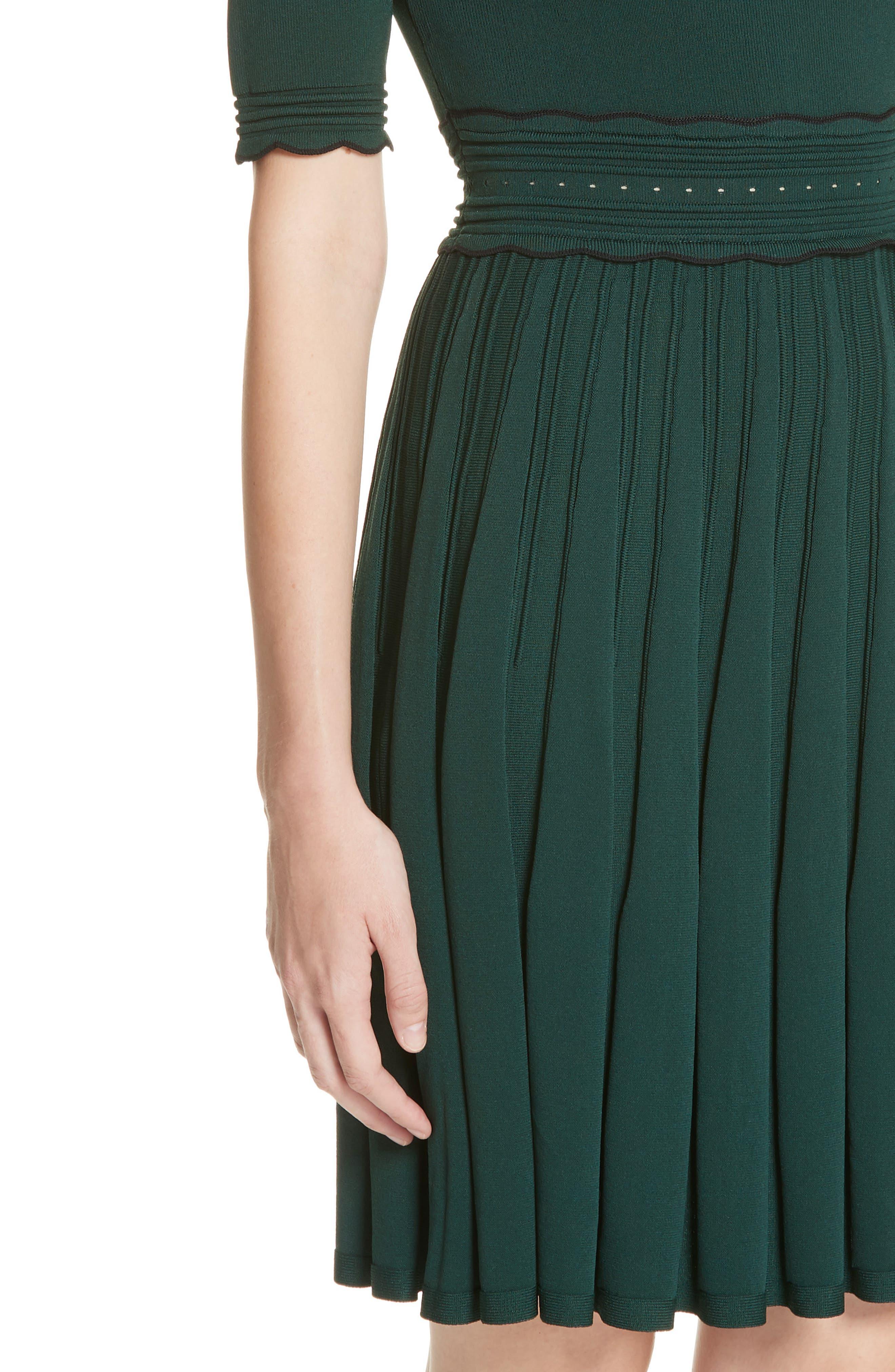 Dorlean Knit Dress,                             Alternate thumbnail 4, color,                             DARK GREEN
