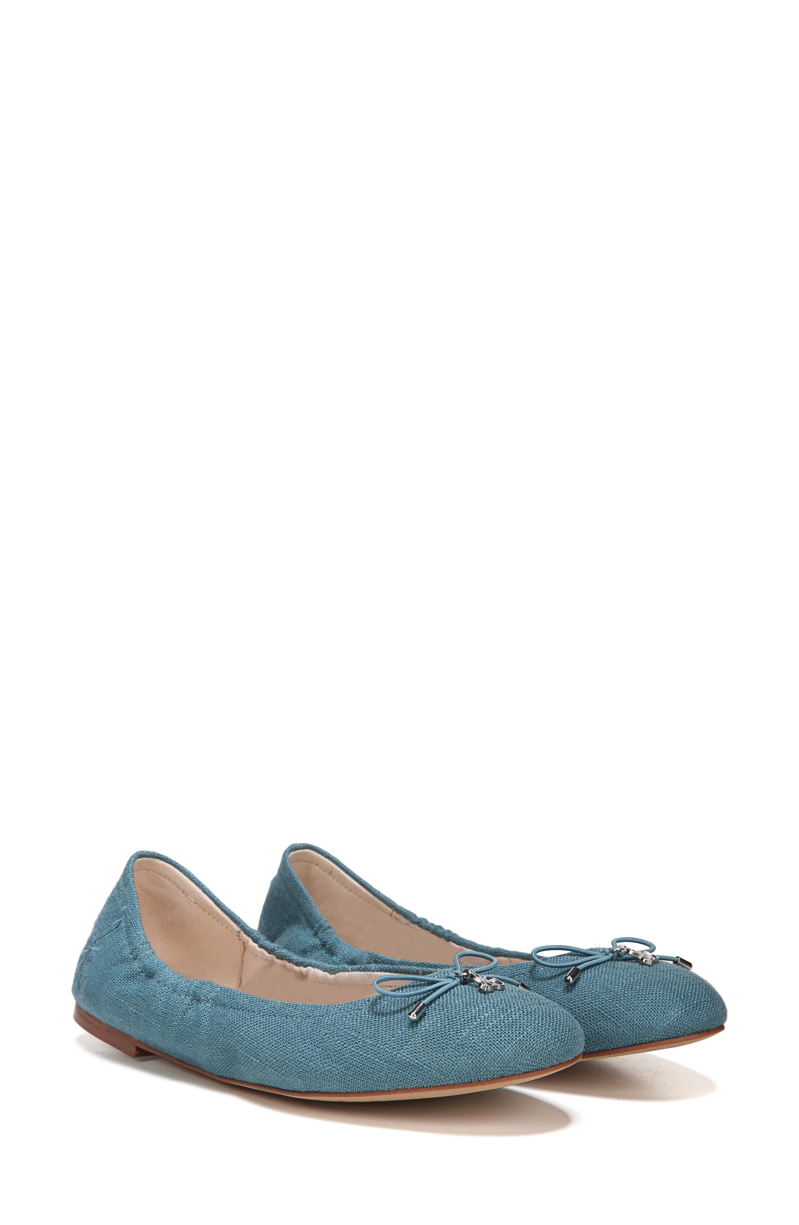 Felicia Flat,                             Alternate thumbnail 6, color,                             DENIM BLUE FABRIC