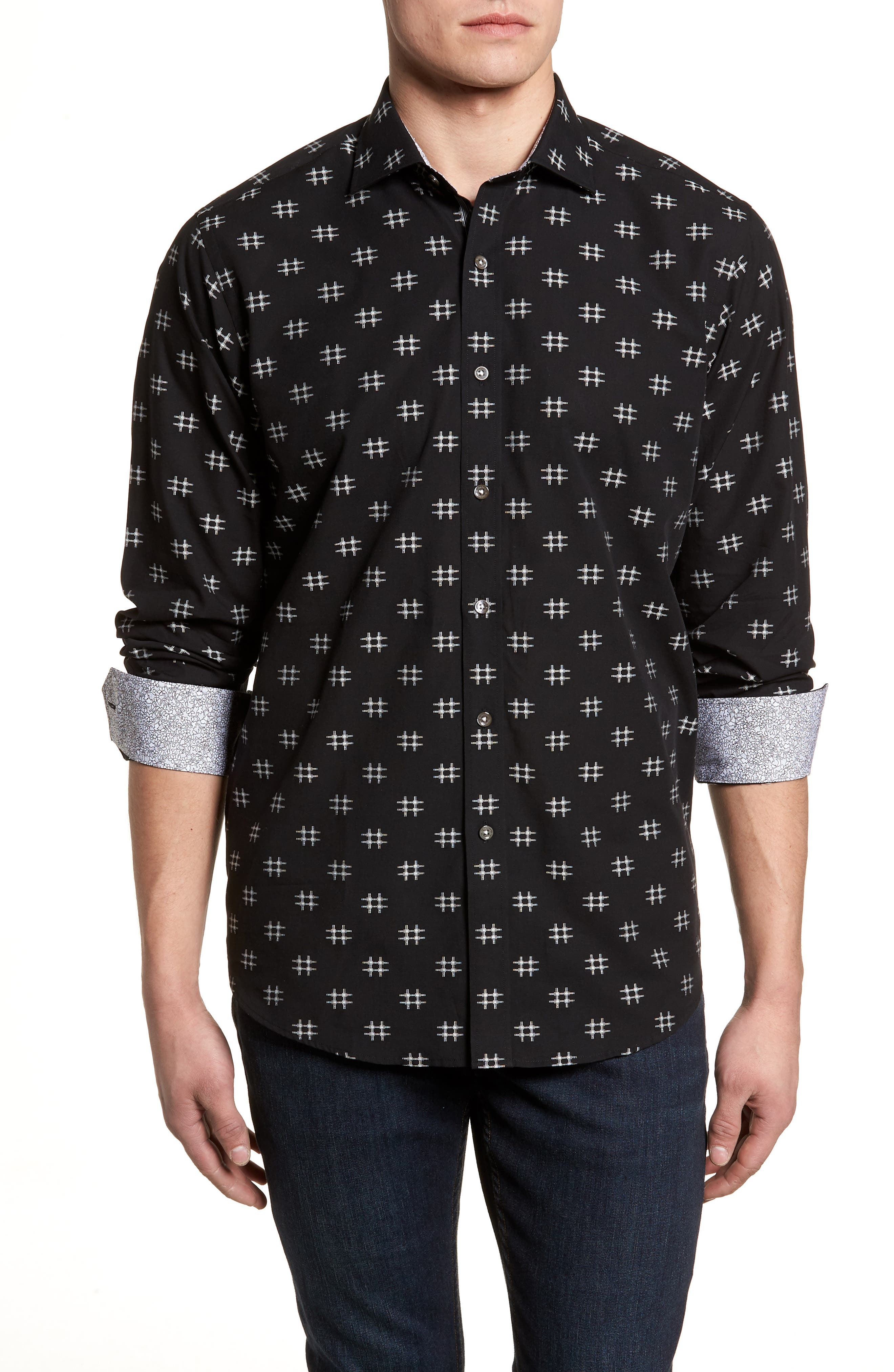 Classic Fit Spaced Out Sport Shirt,                         Main,                         color, BLACK
