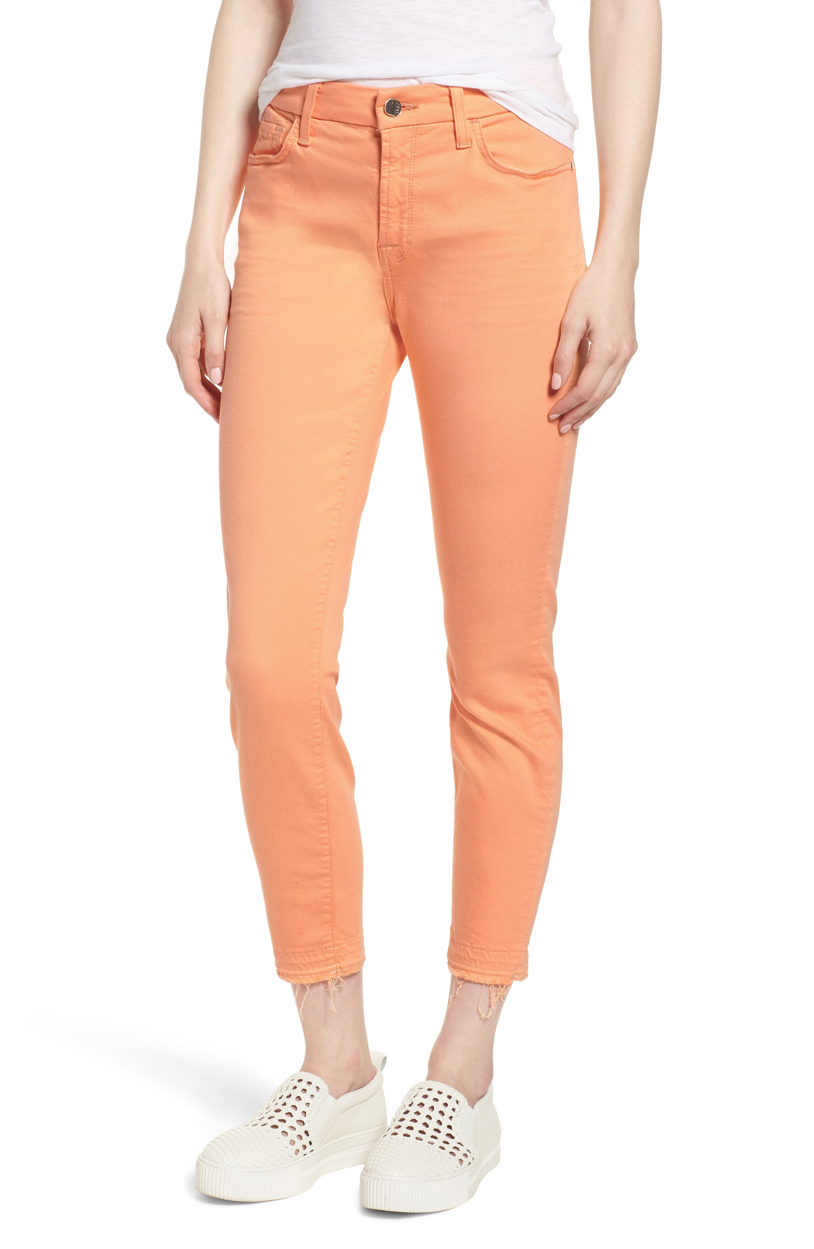 JEN7 BY 7 FOR ALL MANKIND Release Hem Colored Ankle Skinny Jeans in Cantaloupe