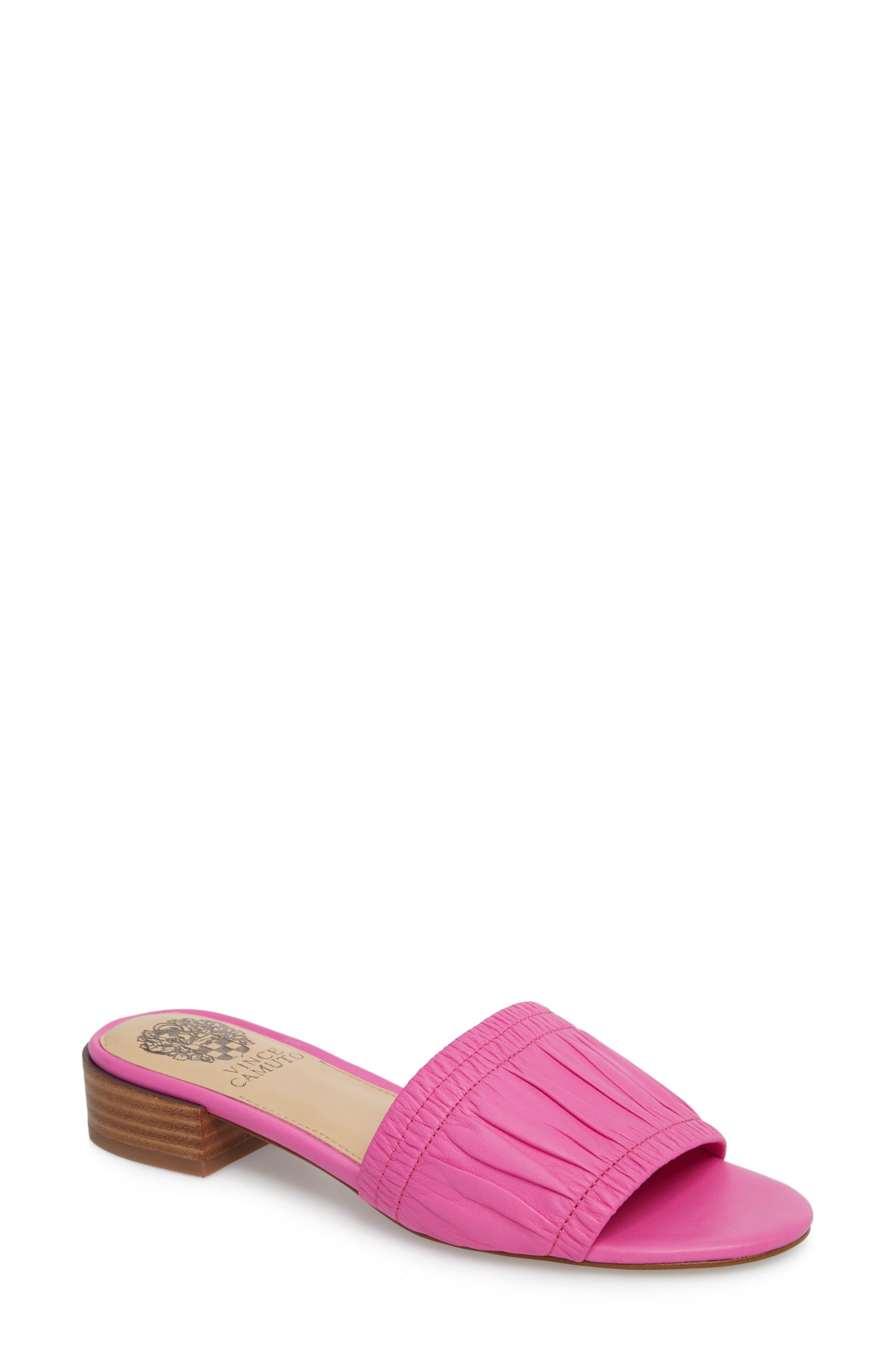Nanita Pleated Slide Sandal,                             Main thumbnail 4, color,