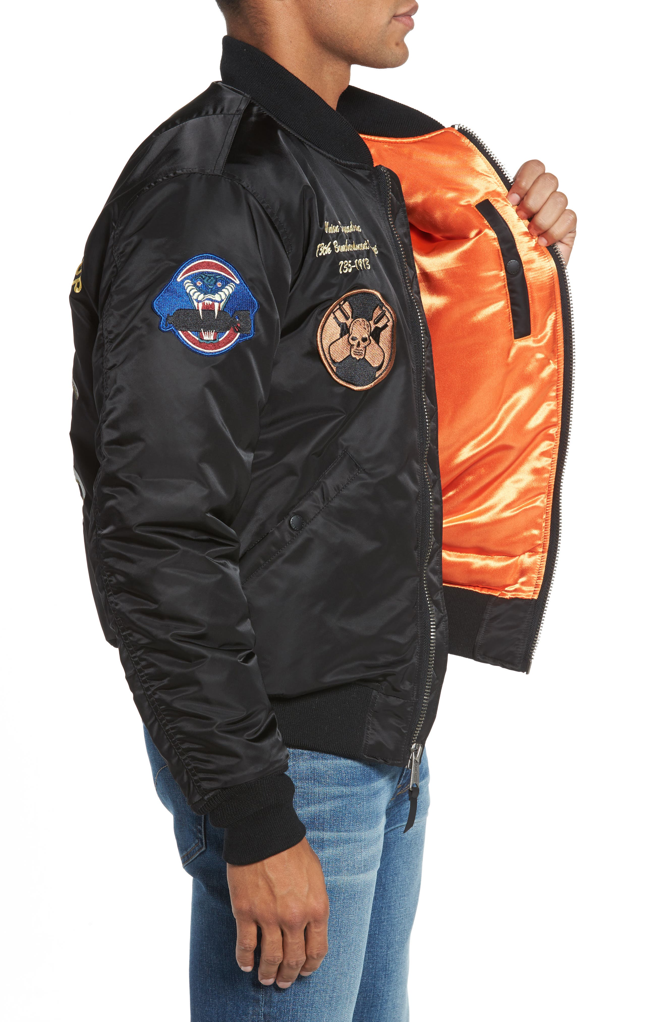 Highly Decorated Embroidered Flight Jacket,                             Alternate thumbnail 3, color,                             001