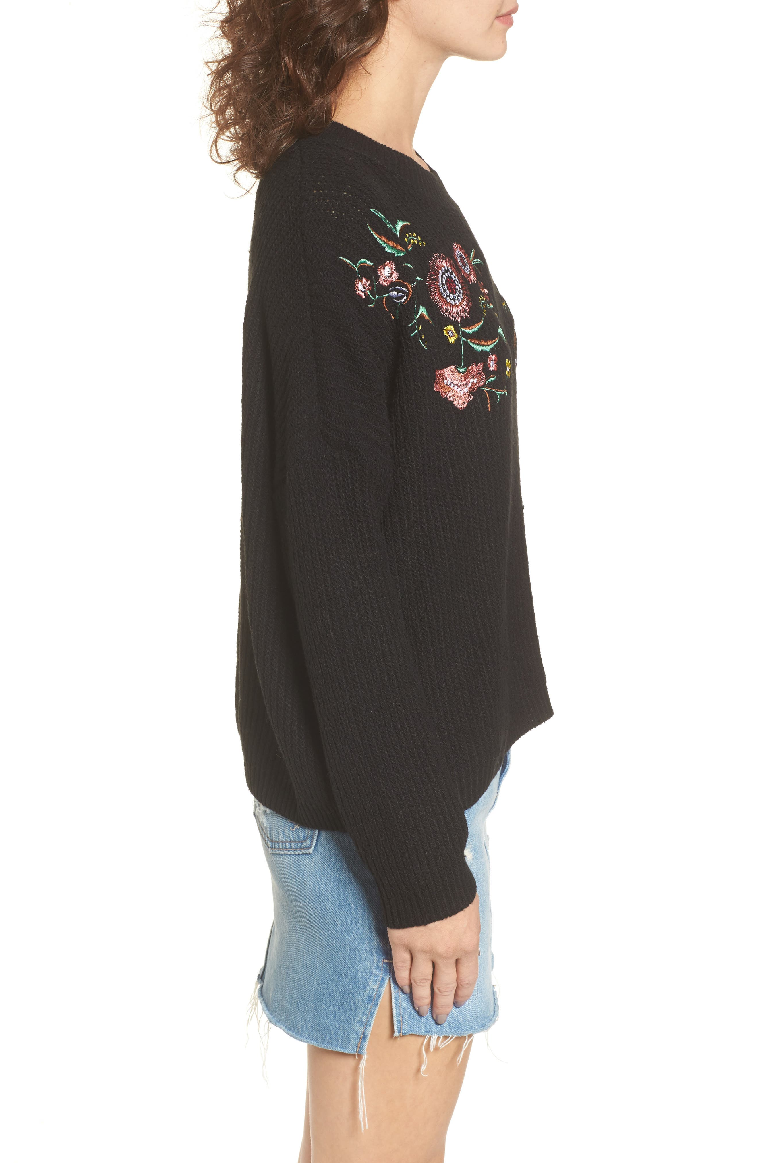 Embroidered Floral Sweater,                             Alternate thumbnail 3, color,                             001