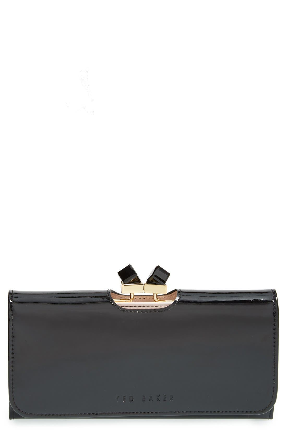 TED BAKER LONDON,                             'Crystal Frame' Patent Leather Matinee Wallet,                             Main thumbnail 1, color,                             001