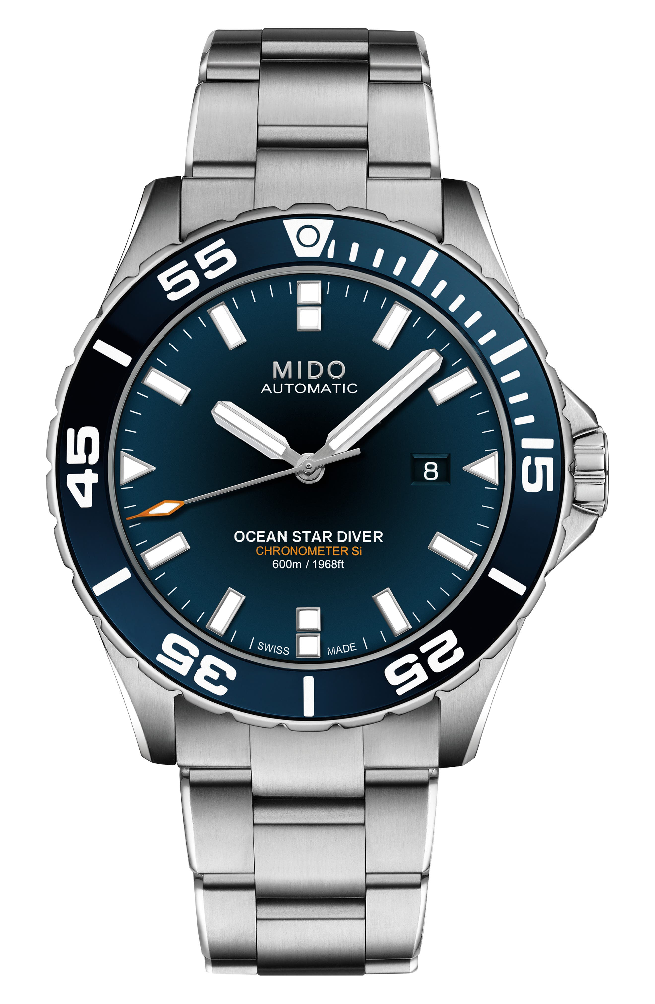 MIDO Ocean Star Diver Automatic Bracelet Watch, 43.5Mm in Silver/Blue