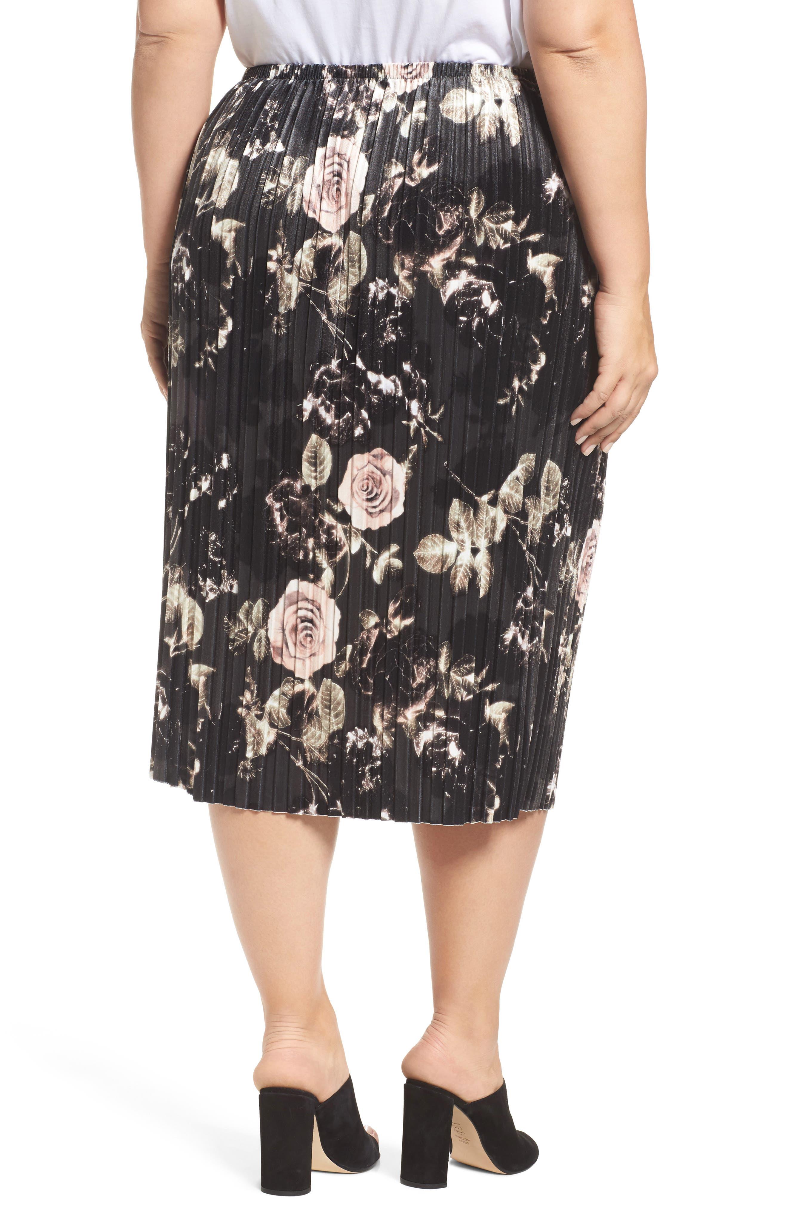 Rose Print Pleated Velvet Pencil Skirt,                             Alternate thumbnail 2, color,                             333