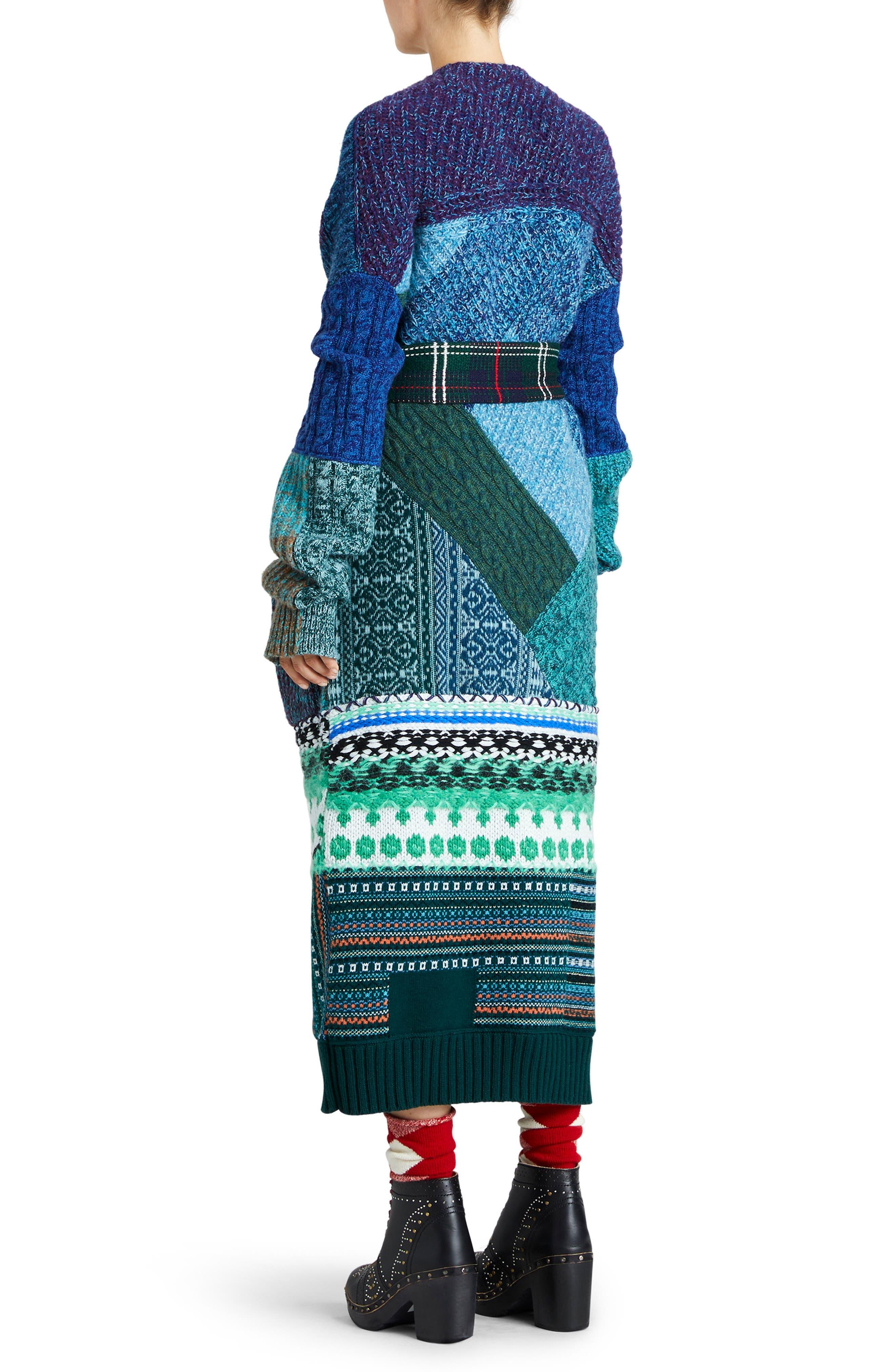 BURBERRY,                             Cashmere & Wool Blend Patchwork Cardigan,                             Alternate thumbnail 2, color,                             437