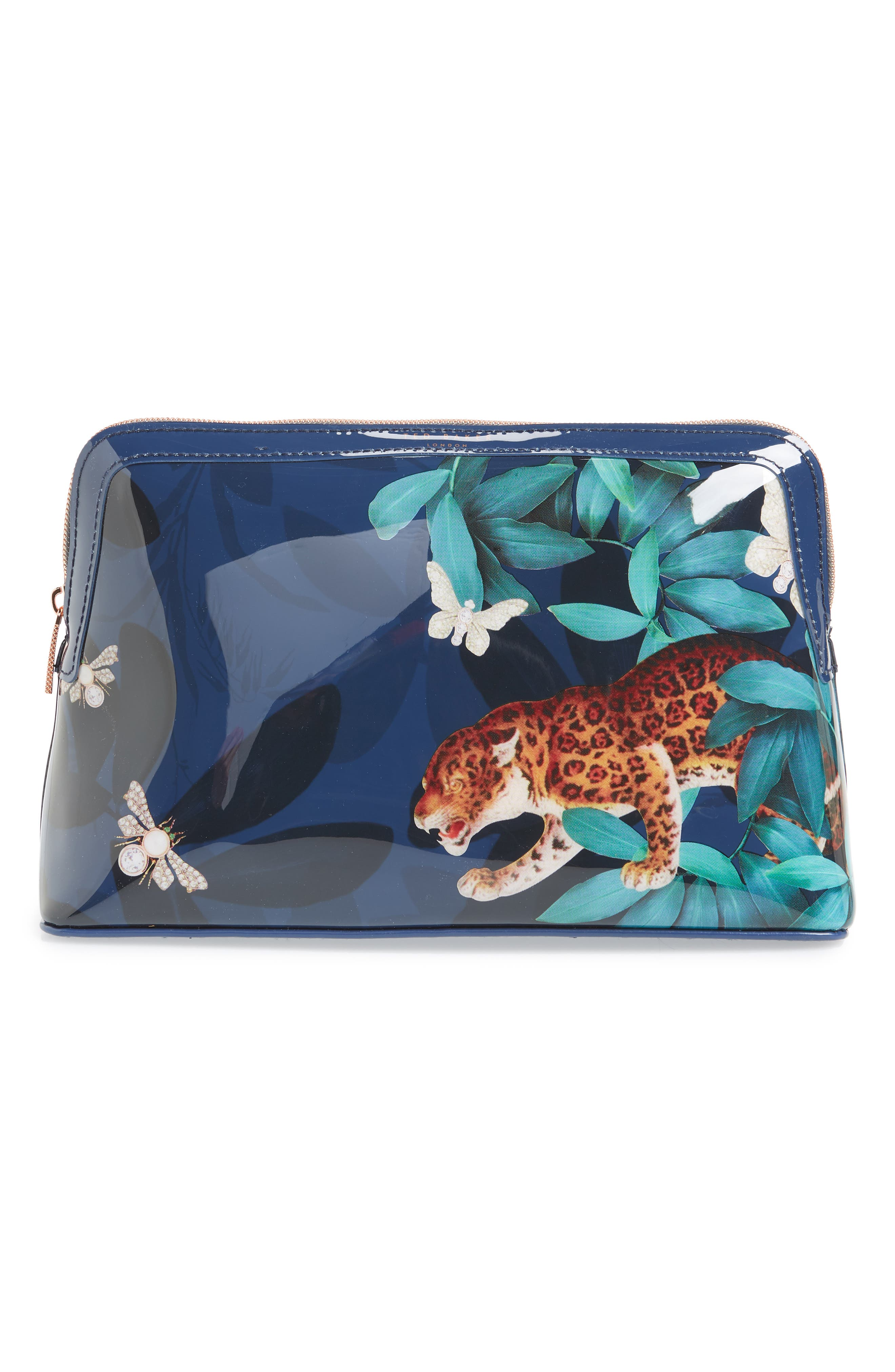 TED BAKER LONDON Leoniee Houdini Large Cosmetics Case, Main, color, NAVY