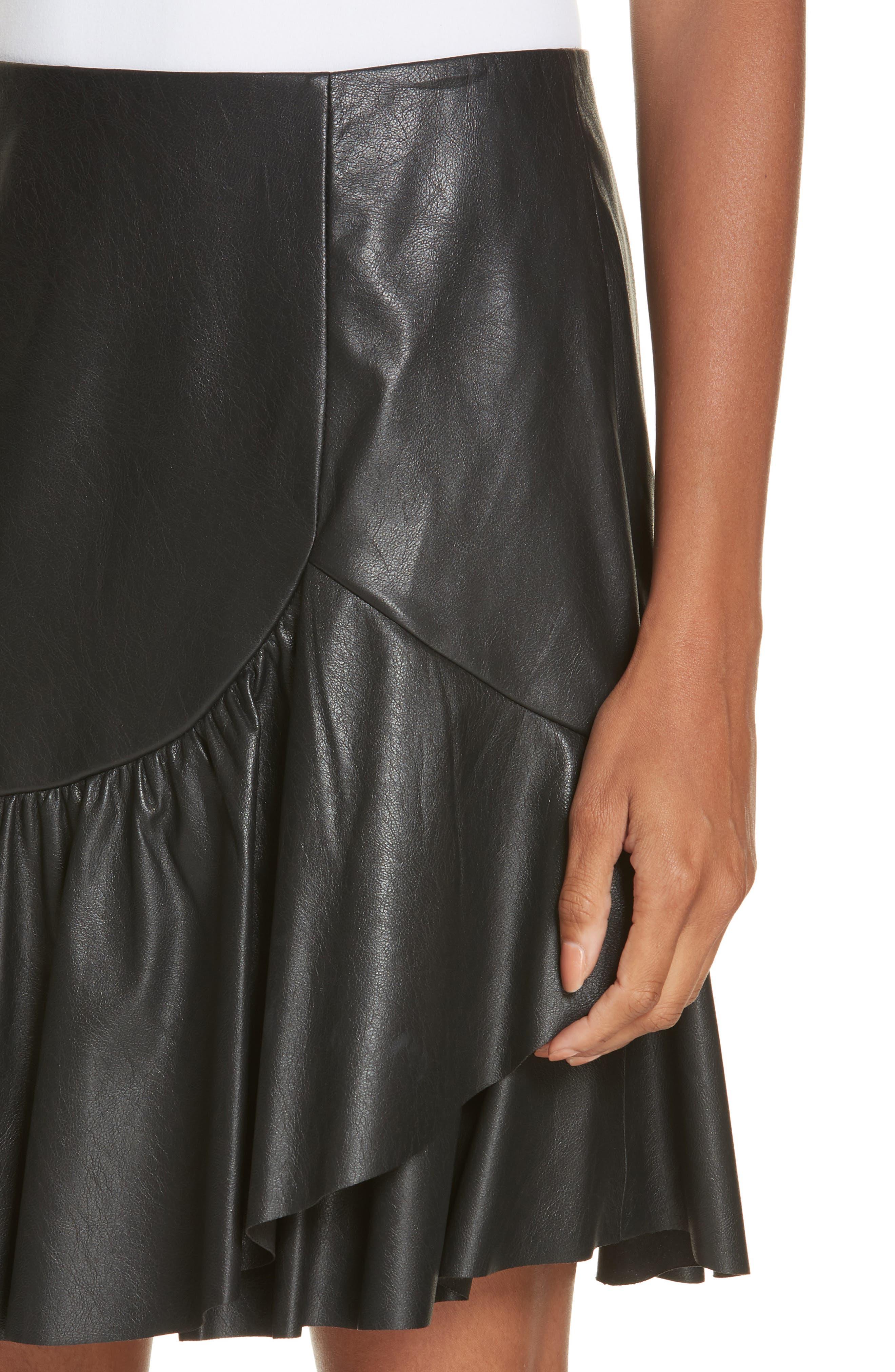 Faux Leather Skirt,                             Alternate thumbnail 4, color,                             001
