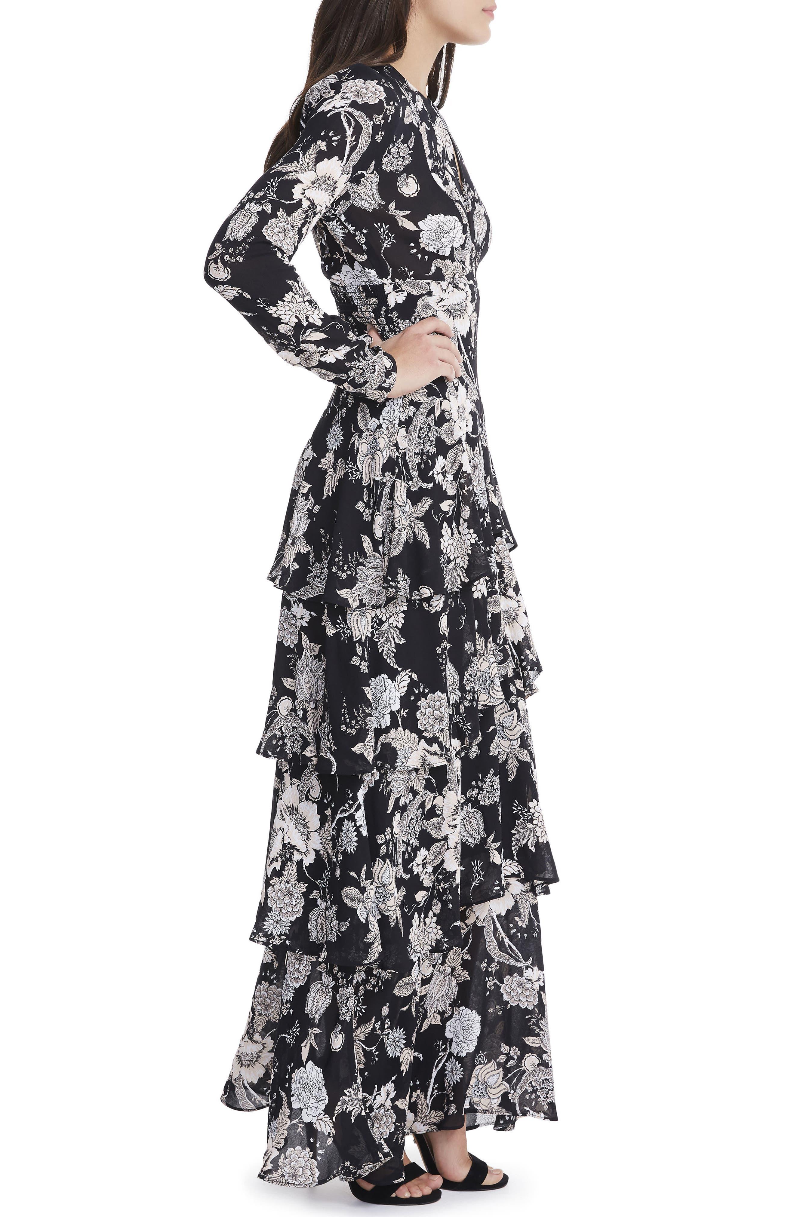 Amabella Tiered Maxi Dress,                             Alternate thumbnail 3, color,                             001
