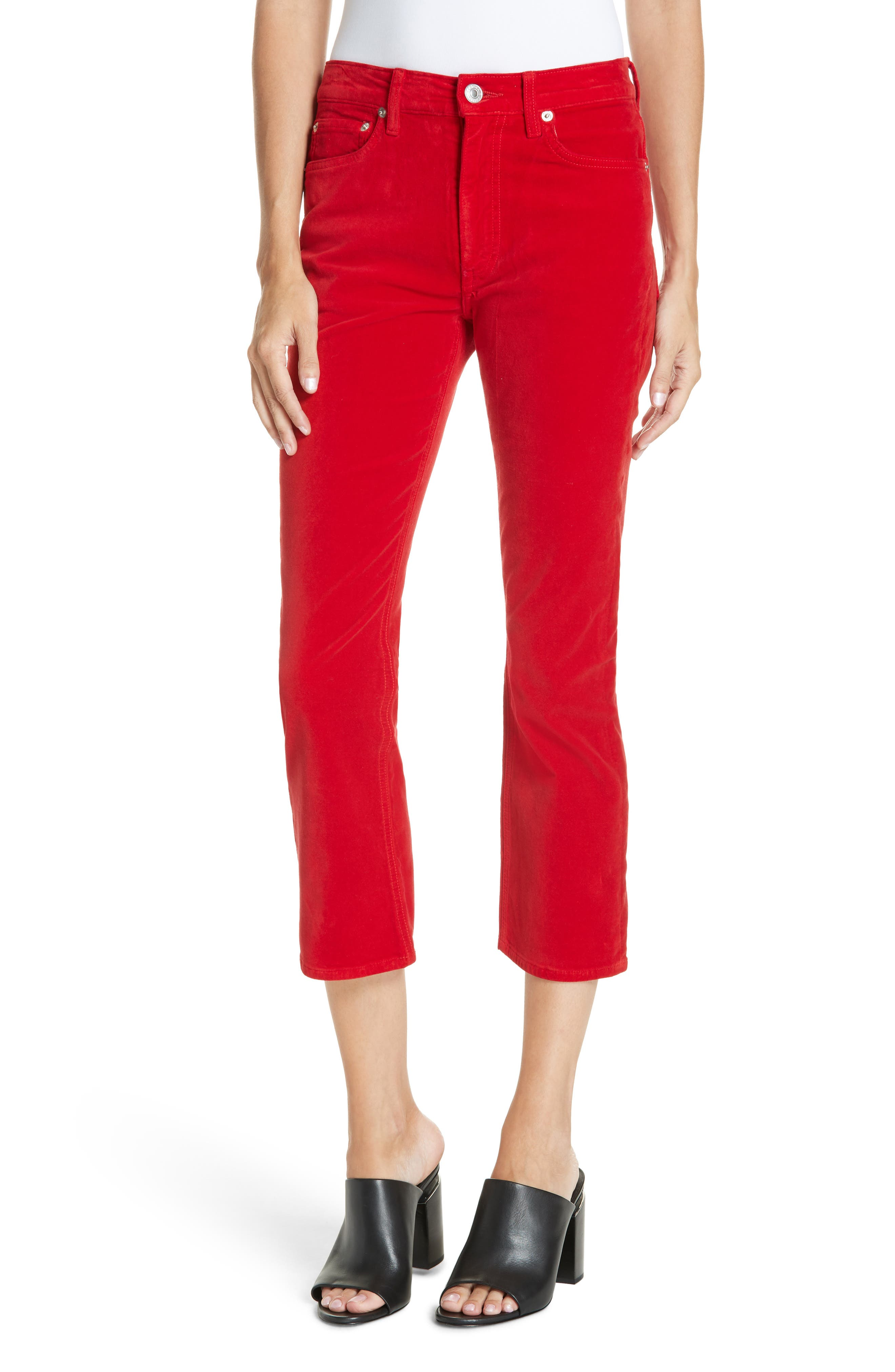 Velvet Crop Kick Flare Jeans,                             Main thumbnail 1, color,                             RED