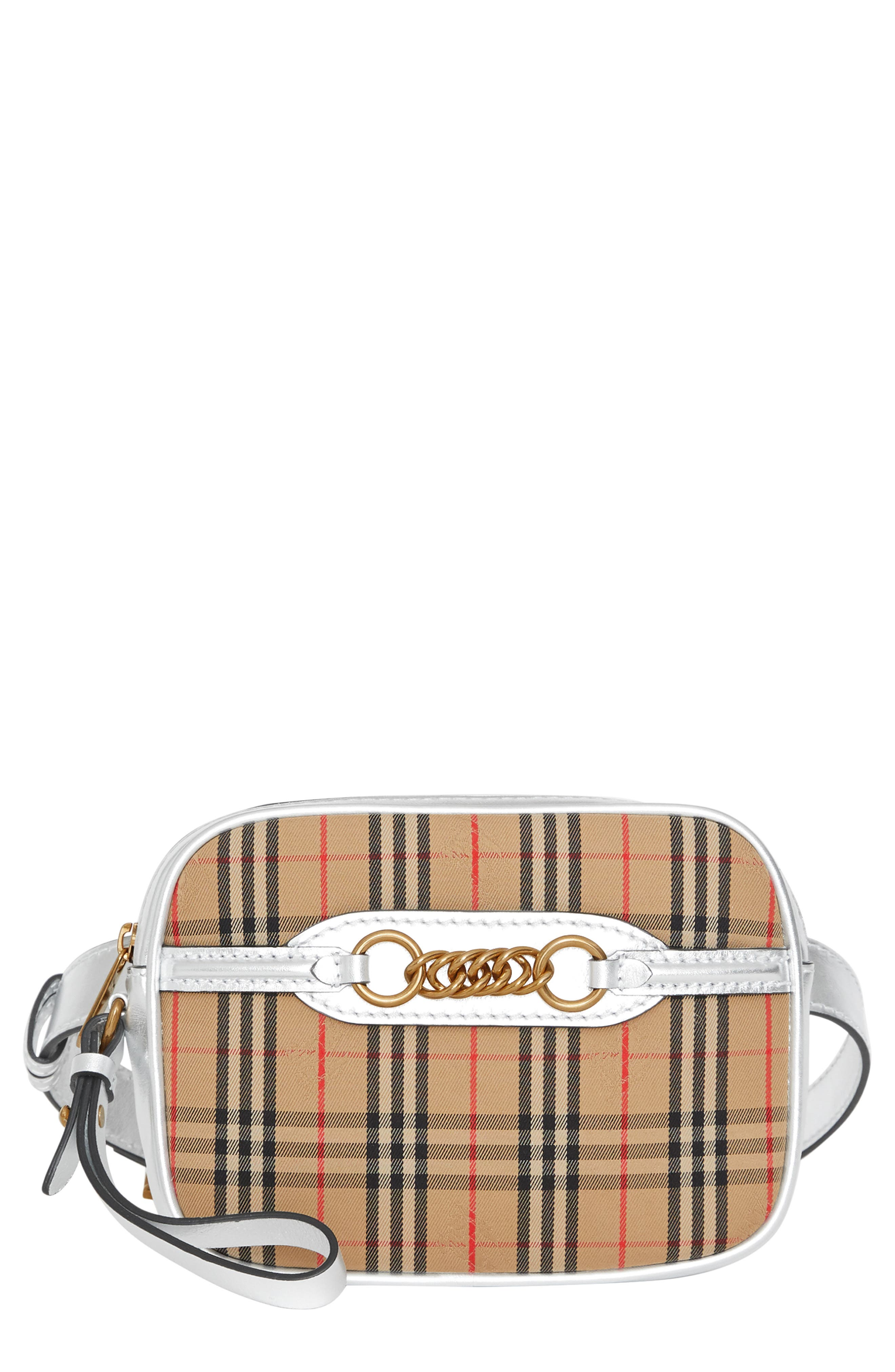 Vintage Check Link Bum Bag,                         Main,                         color, ANTIQUE YELLOW/ SILVER