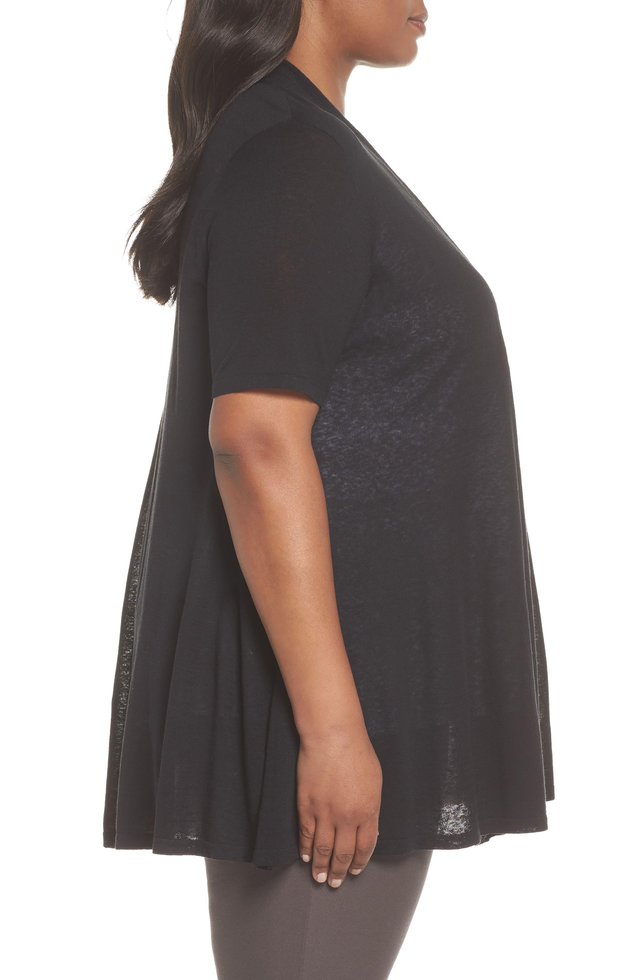 Silk & Organic Linen Long Cardigan,                             Alternate thumbnail 3, color,                             001