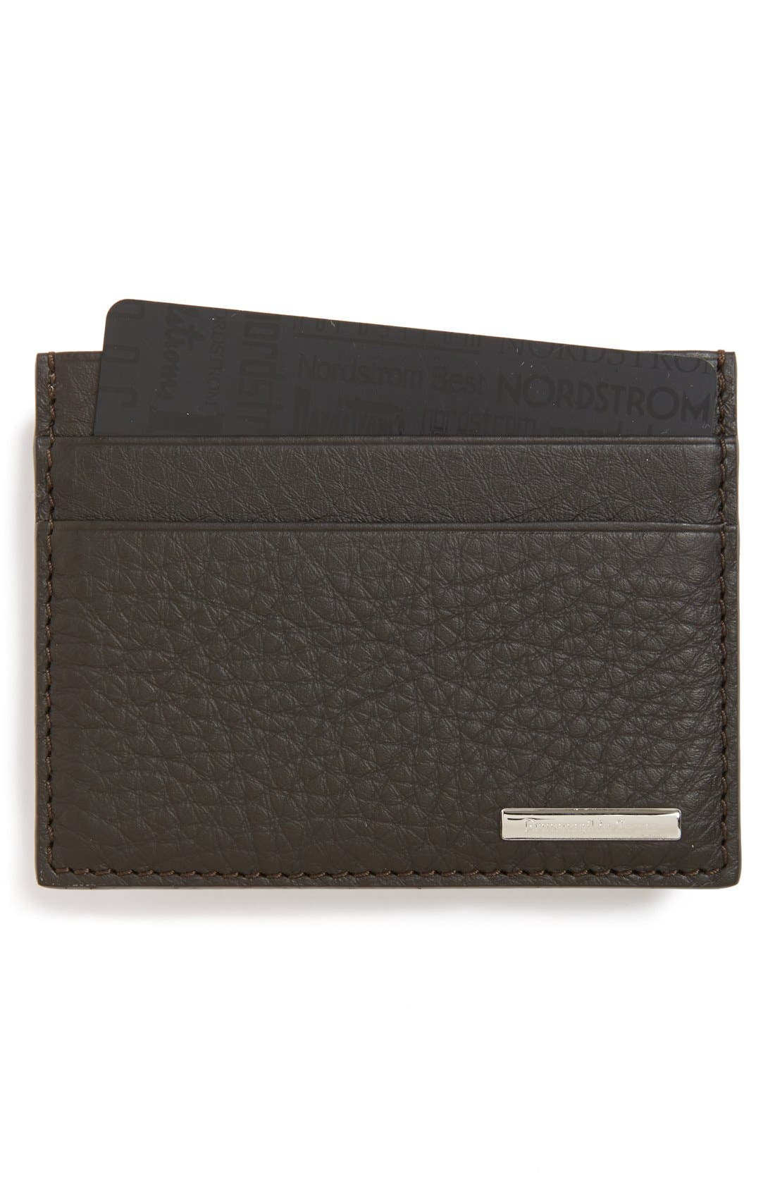 Leather Card Holder,                             Main thumbnail 1, color,                             212