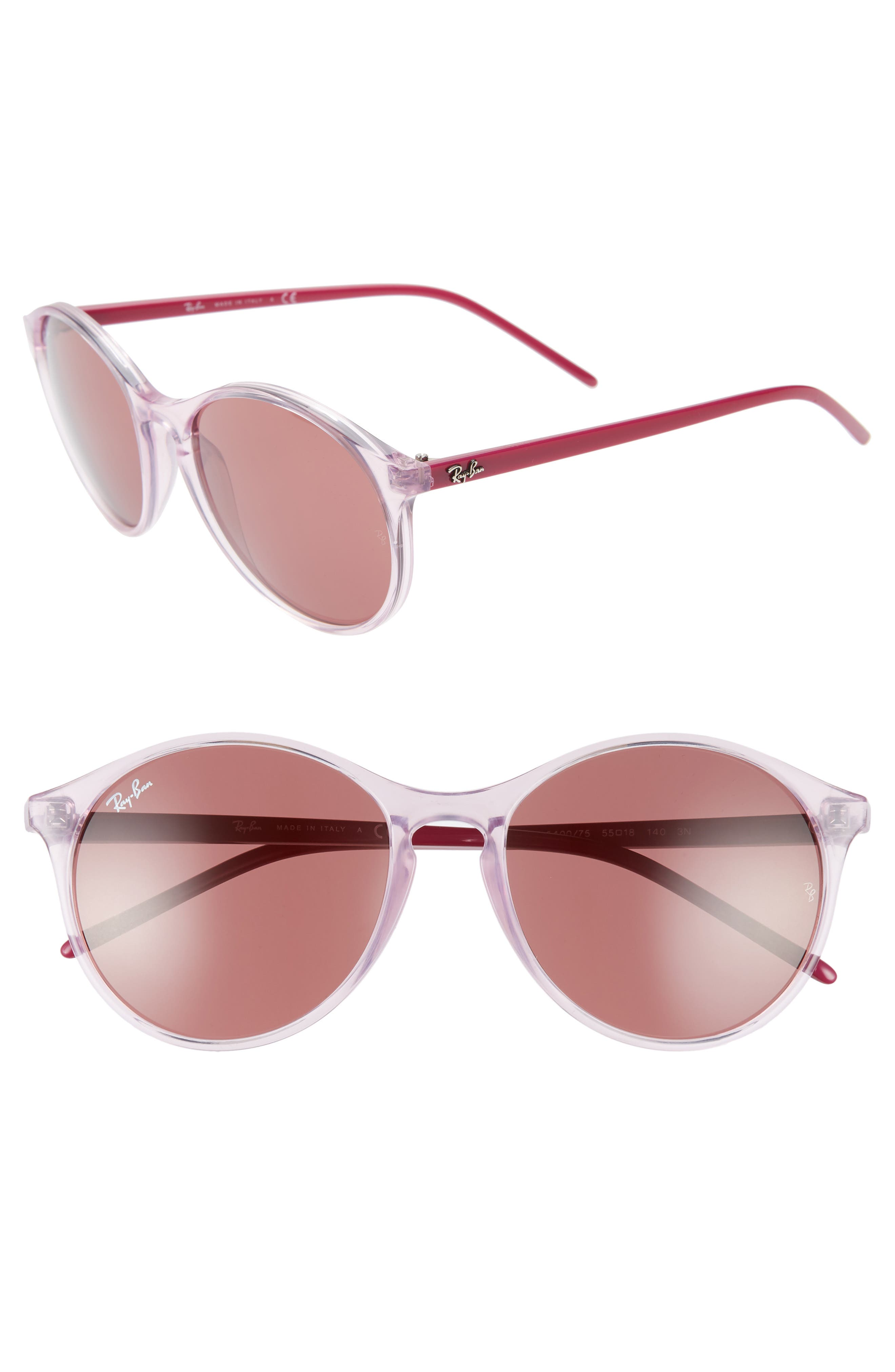 Ray-Ban Highstreet 55Mm Round Sunglasses - Pink/ Bordeaux Solid