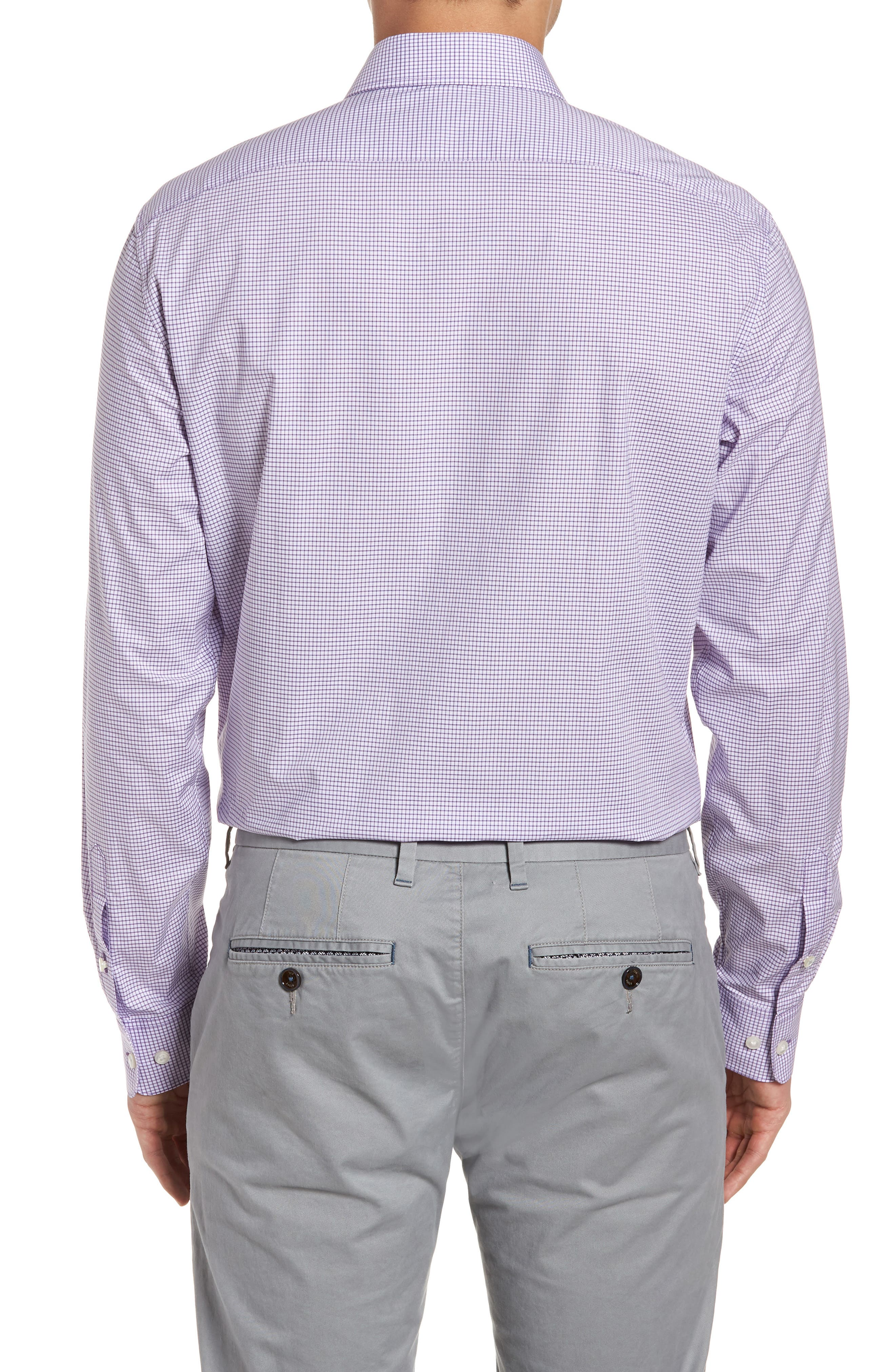 Regular Fit Stretch Check Dress Shirt,                             Alternate thumbnail 3, color,                             522