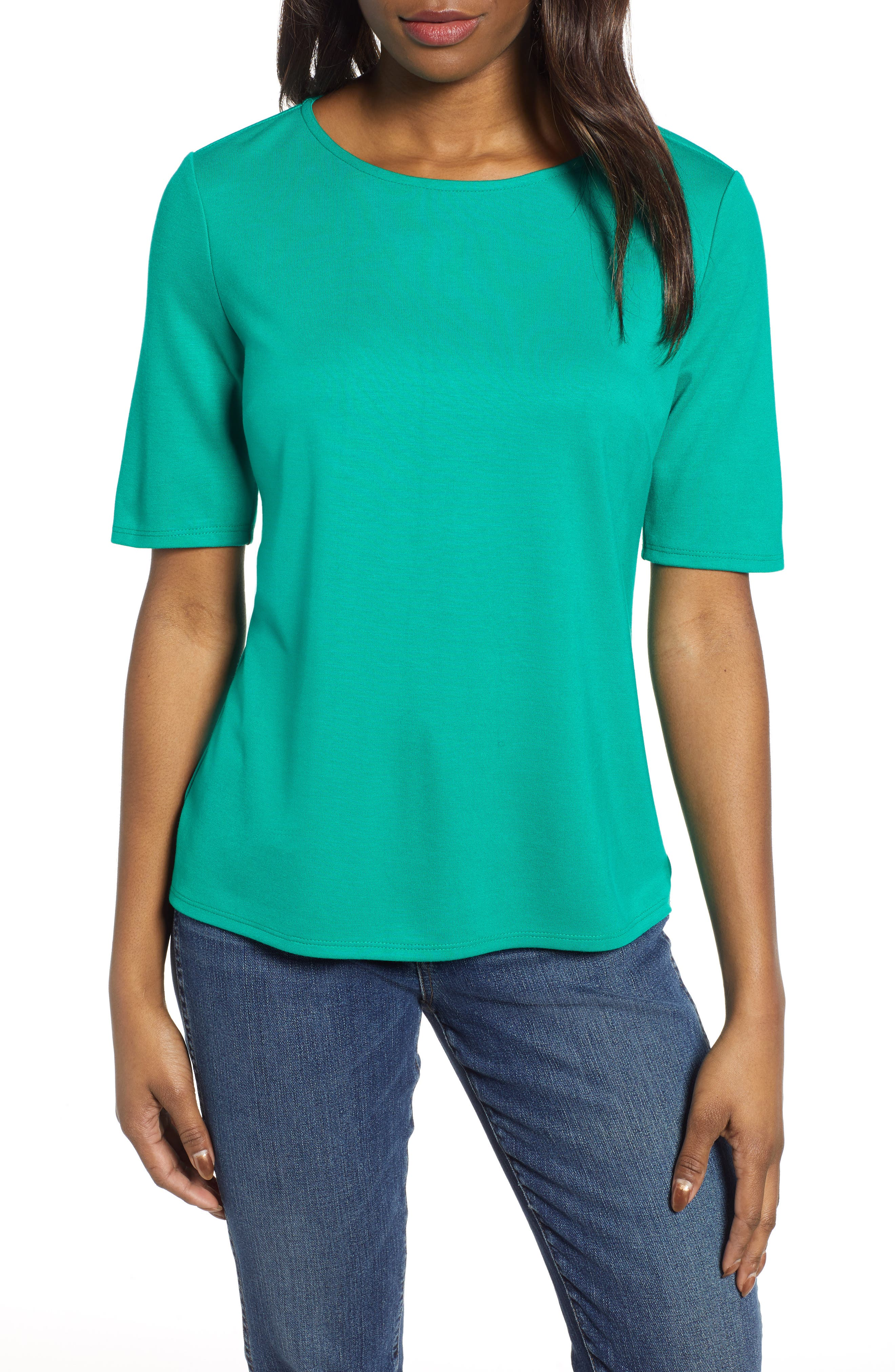 GIBSON,                             x International Women's Day Thamarr Keyhole Tie Back Ponte Top,                             Main thumbnail 1, color,                             GREEN