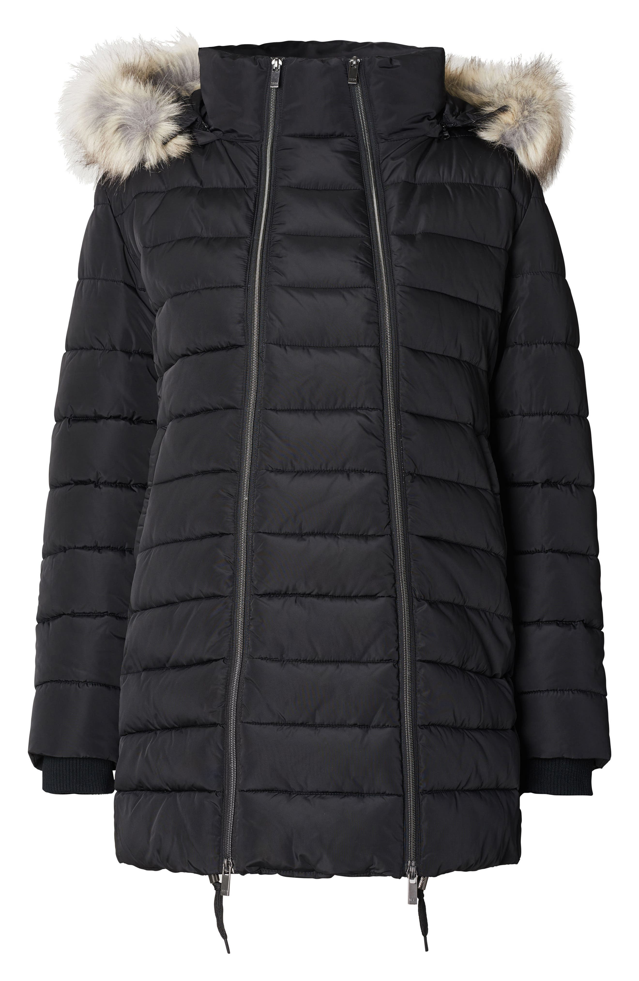 Bella Two-Way Quilted Maternity Coat with Faux Fur Trim,                             Main thumbnail 1, color,                             BLACK