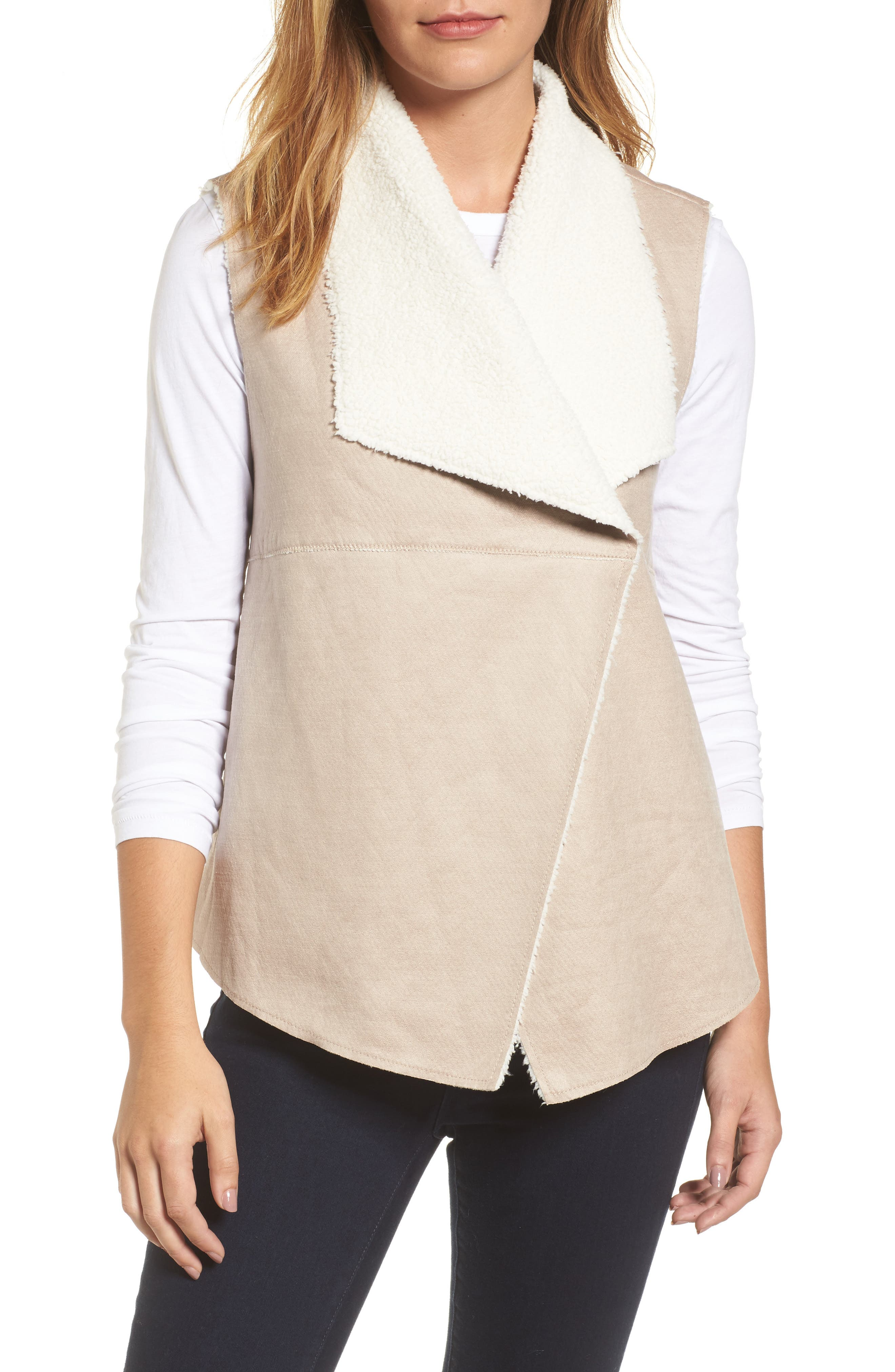 Faux Shearling Backed Knit Vest,                             Alternate thumbnail 4, color,                             251