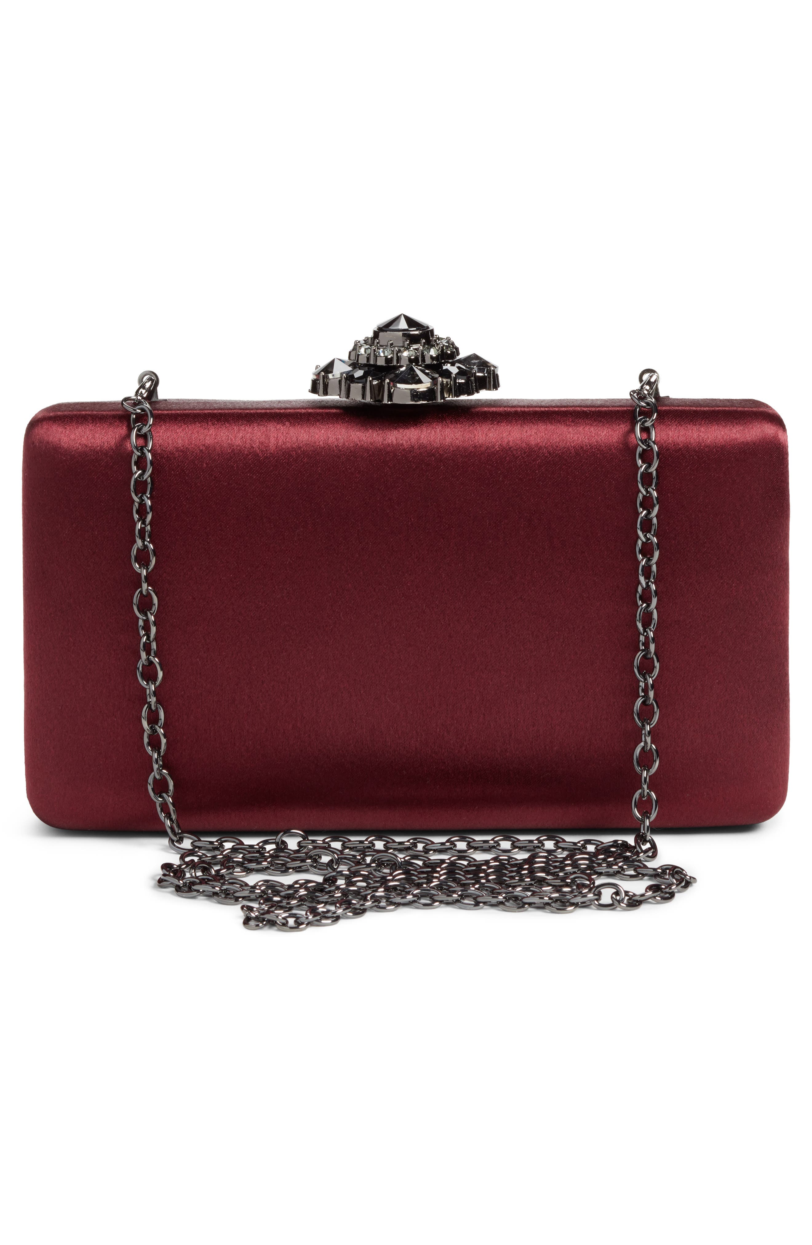 Crystal Flower Clasp Box Clutch,                             Alternate thumbnail 3, color,                             930