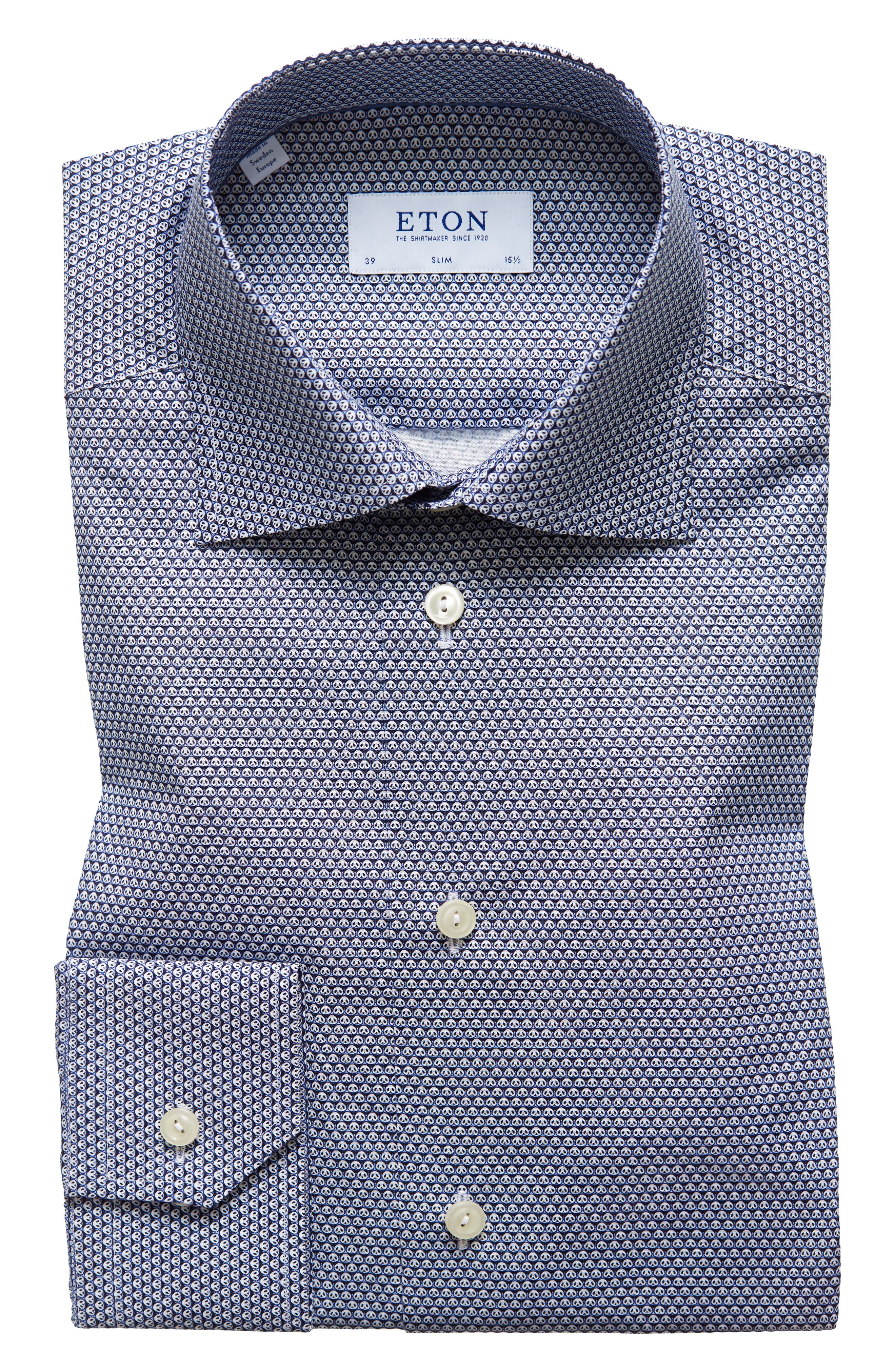 Slim Fit Panda Print Dress Shirt,                             Main thumbnail 1, color,                             BLUE