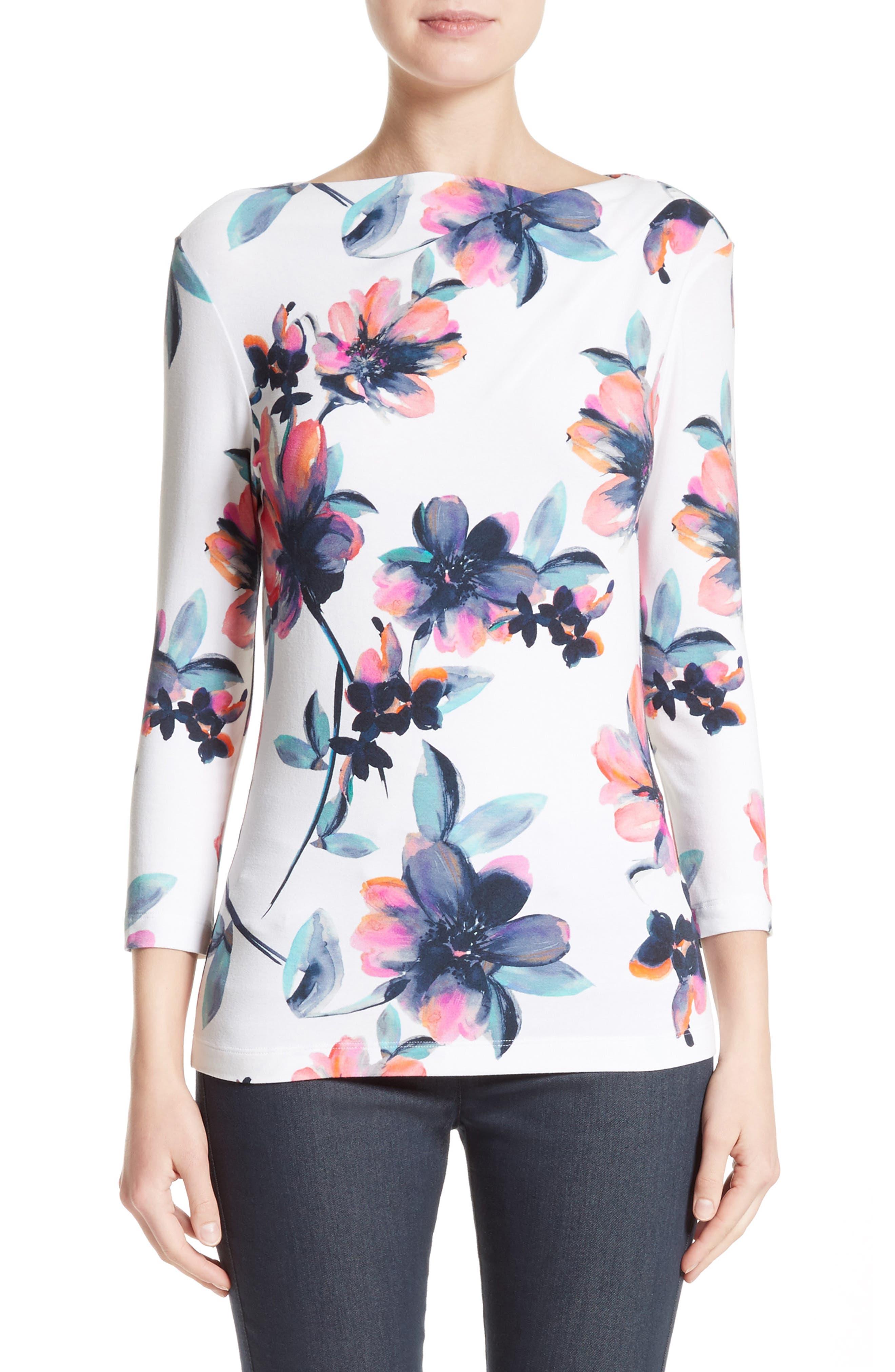 Naveena Floral Print Top,                         Main,                         color, 100