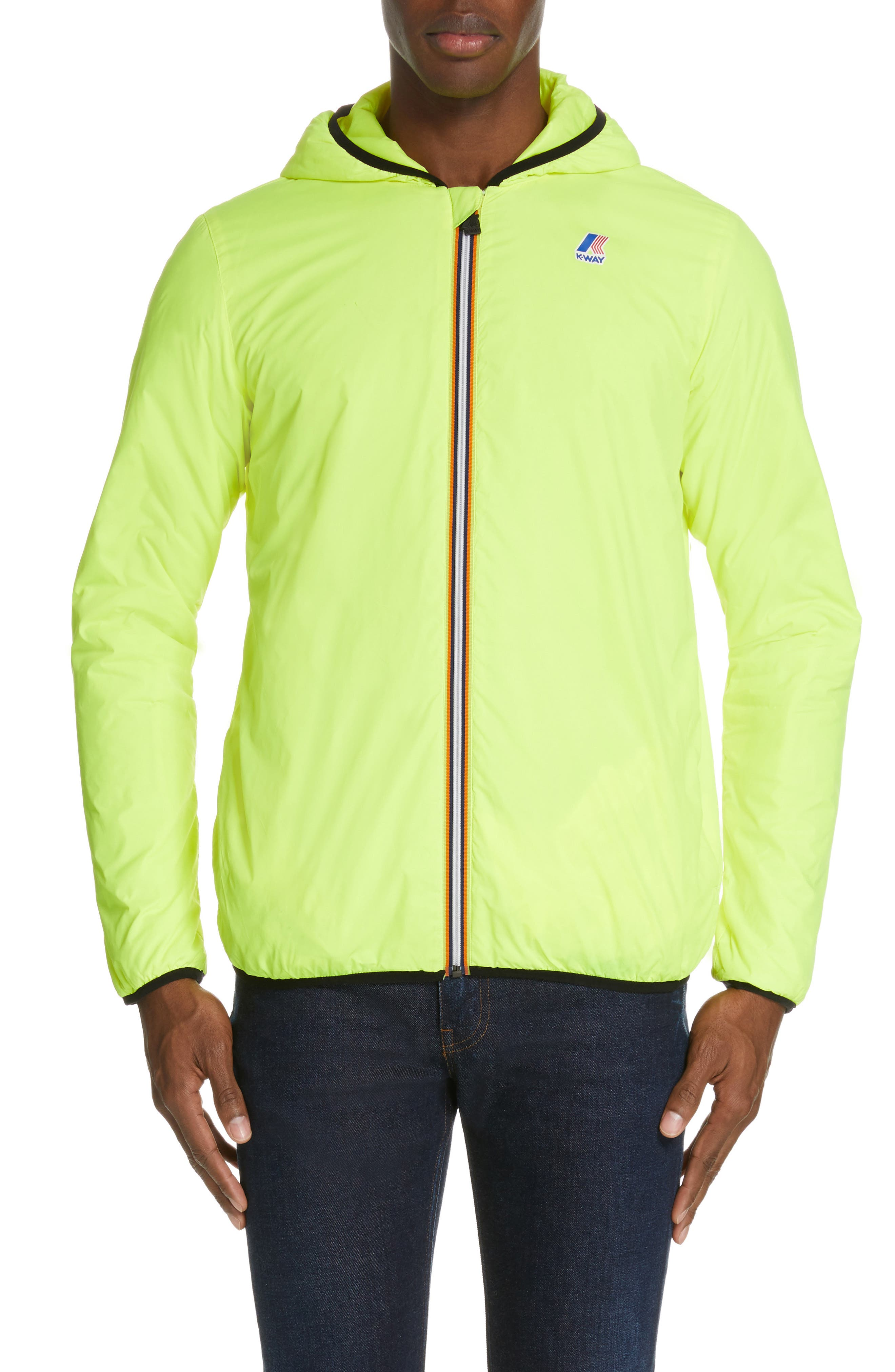 Le Vrai 3.0 Claude Light Warm Water Resistant Hooded Windbreaker,                             Alternate thumbnail 2, color,                             YELLOW FLUO