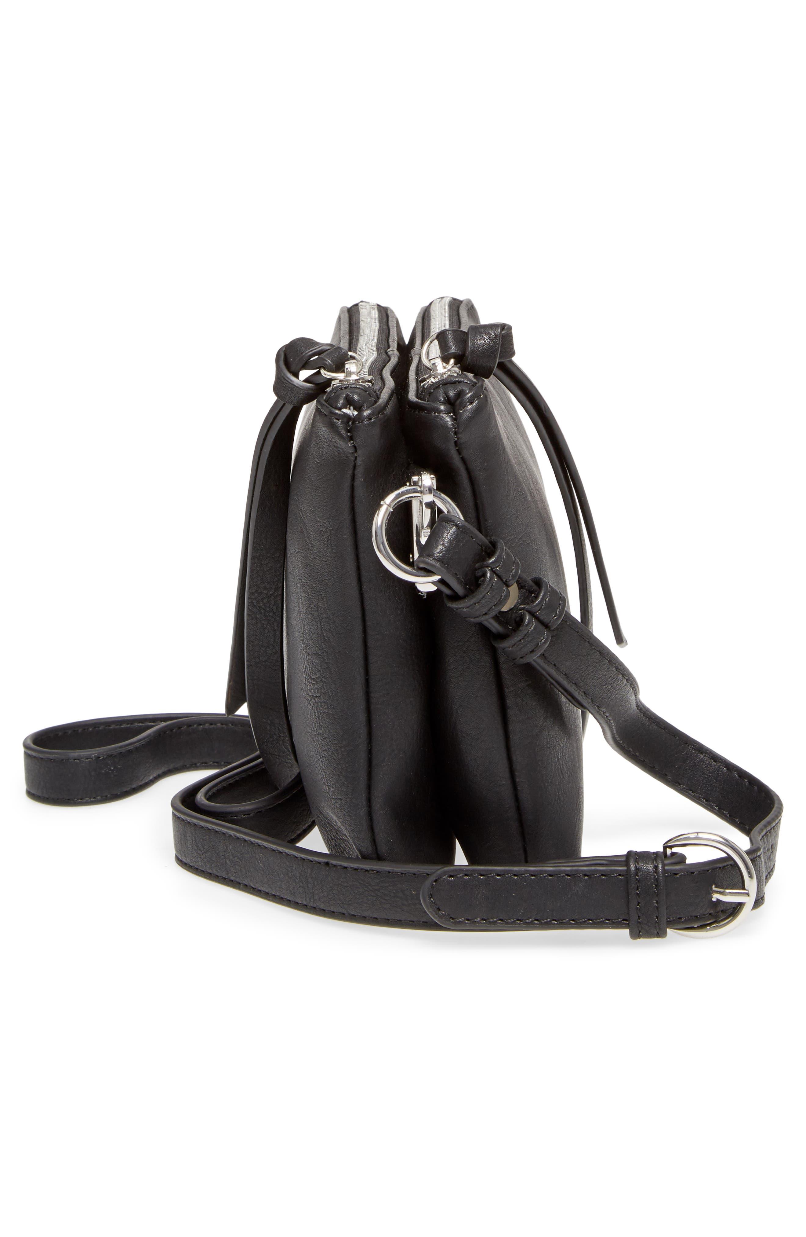 Kia Double Zip Faux Leather Crossbody Bag,                             Alternate thumbnail 5, color,                             001