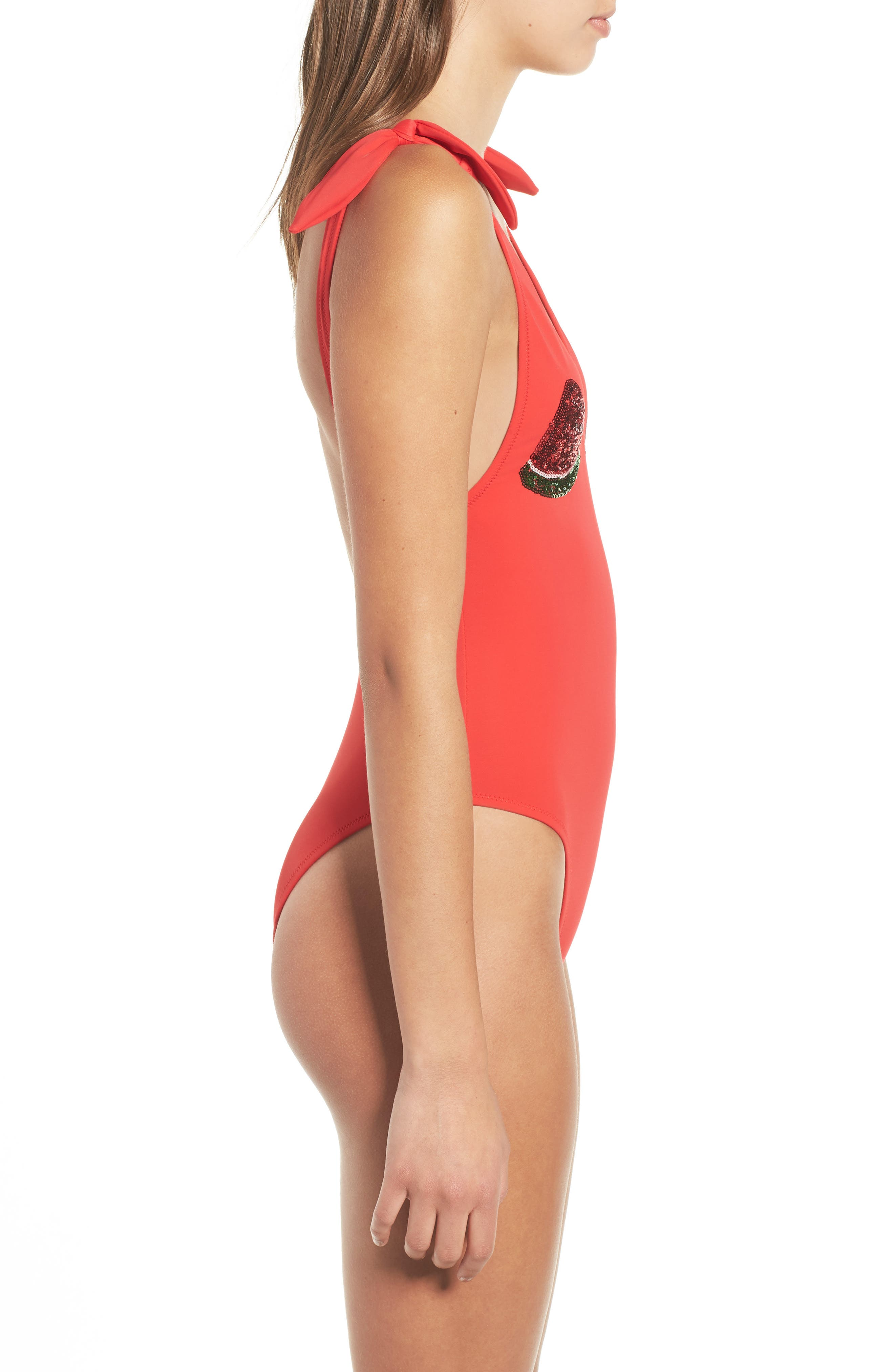 Melon Sequin One-Piece Swimsuit,                             Alternate thumbnail 3, color,                             600
