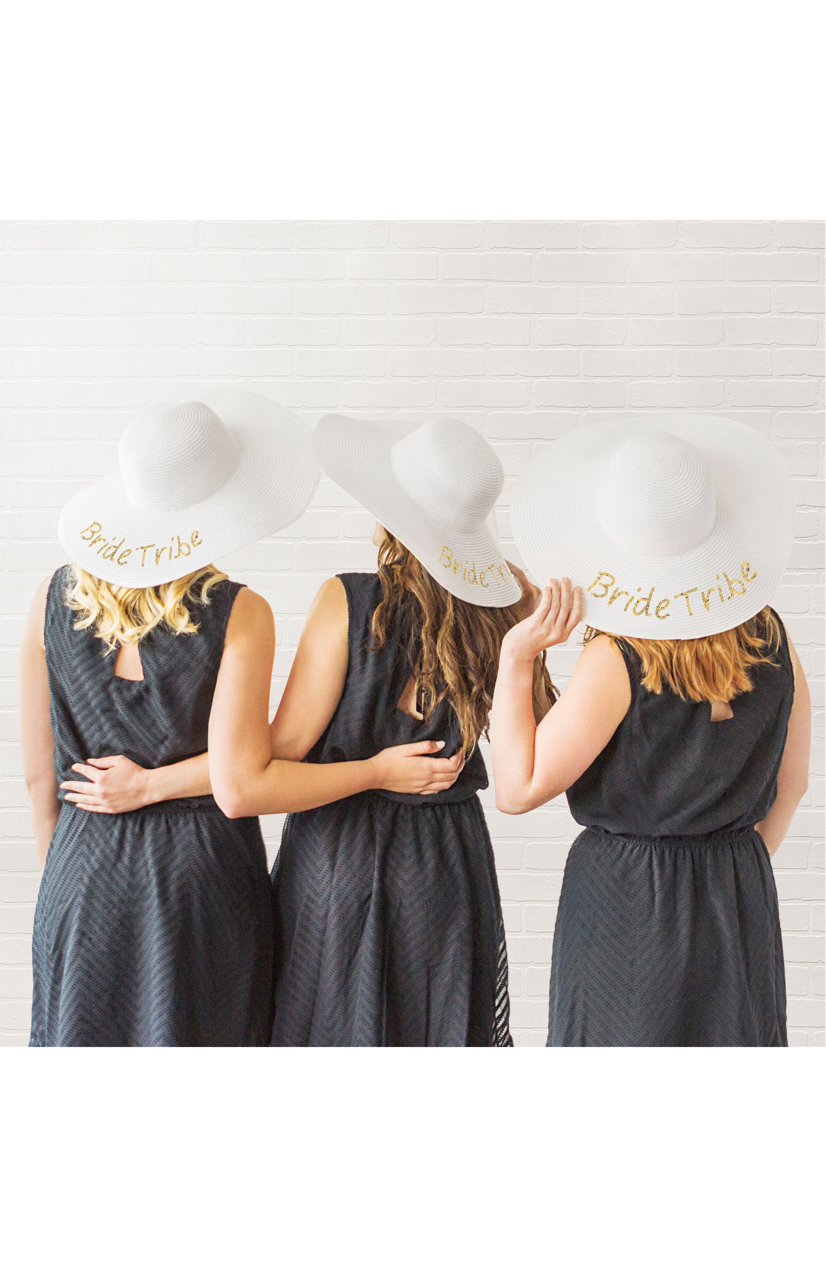 Sequin Bride Tribe Straw Hat,                             Alternate thumbnail 7, color,