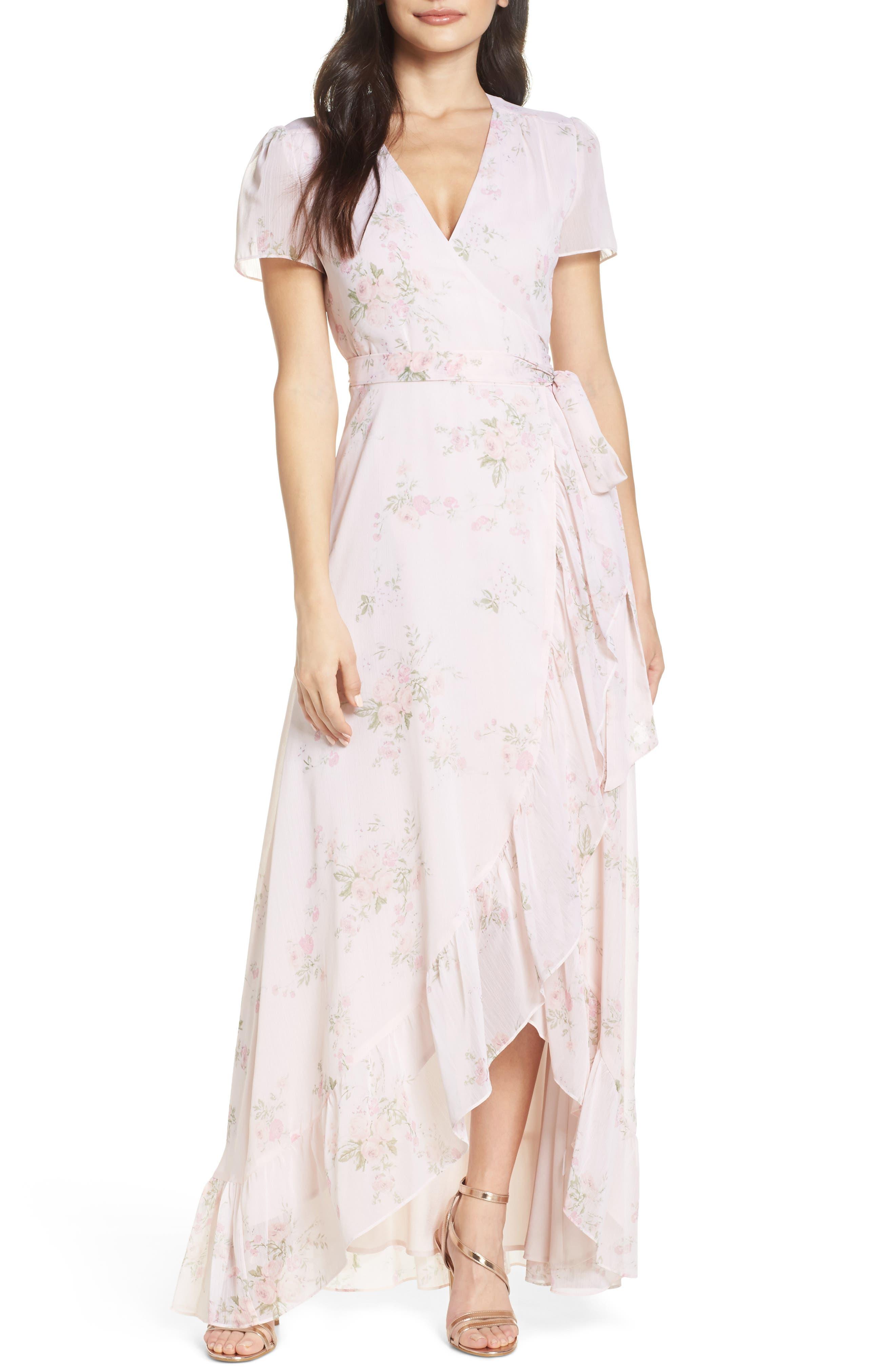 Wayf The Natasha Floral Wrap Maxi Dress, Beige