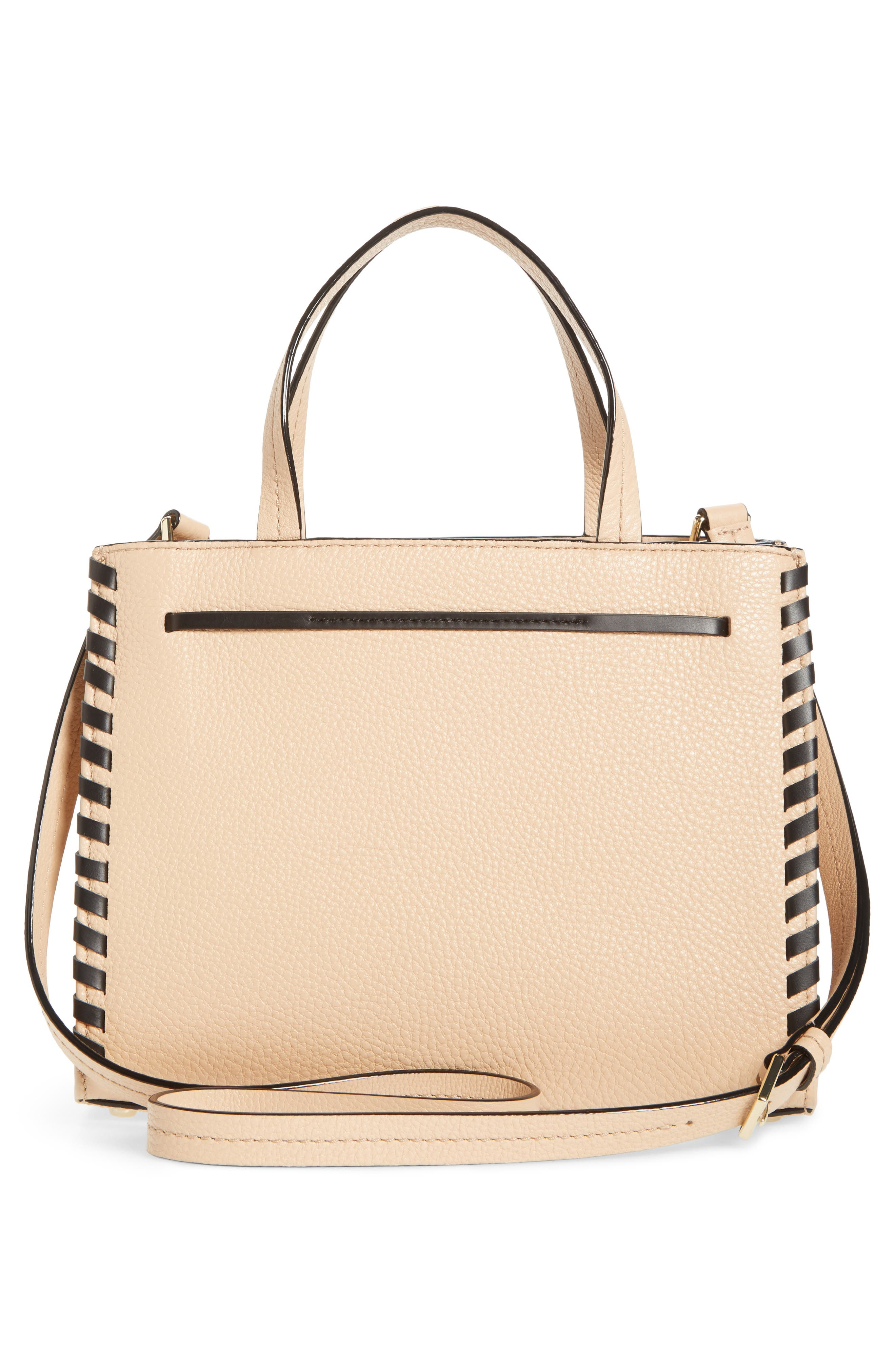 KATE SPADE NEW YORK,                             woven small hayes street - isobel leather satchel,                             Alternate thumbnail 3, color,                             250