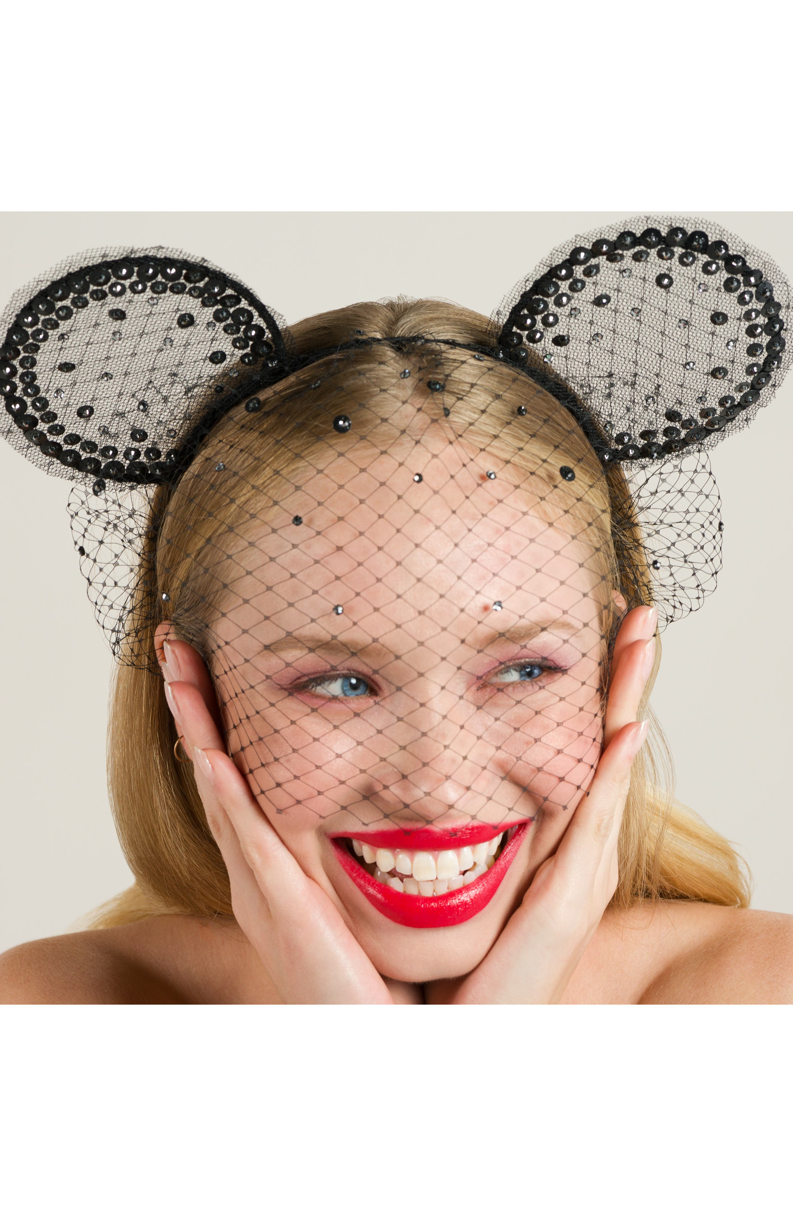 x Disney Mickey Magic Moment Midnight Veil  Headband,                             Alternate thumbnail 3, color,                             BLACK