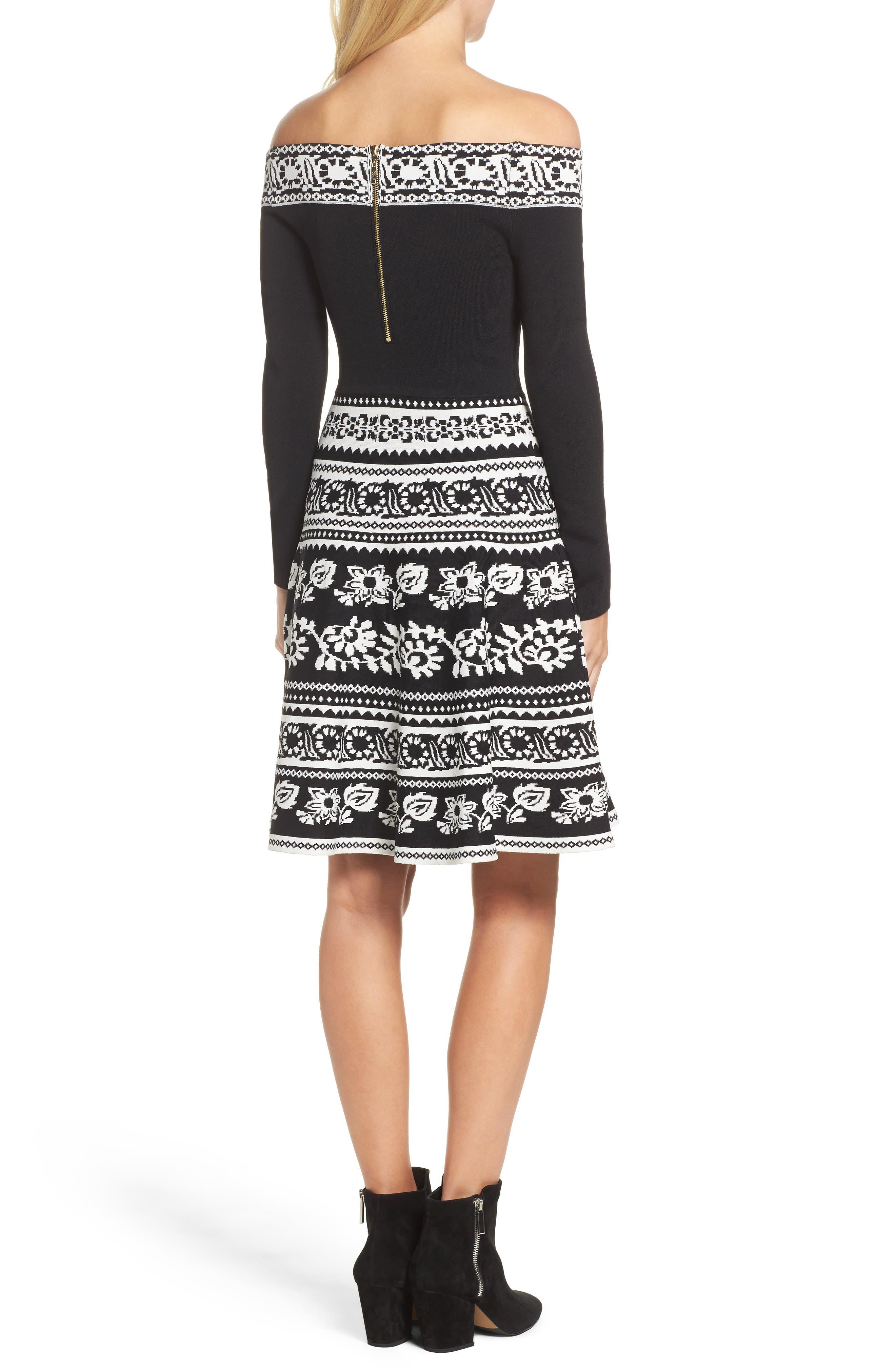 Pattern Off the Shoulder A-Line Knit Dress,                             Alternate thumbnail 2, color,                             012