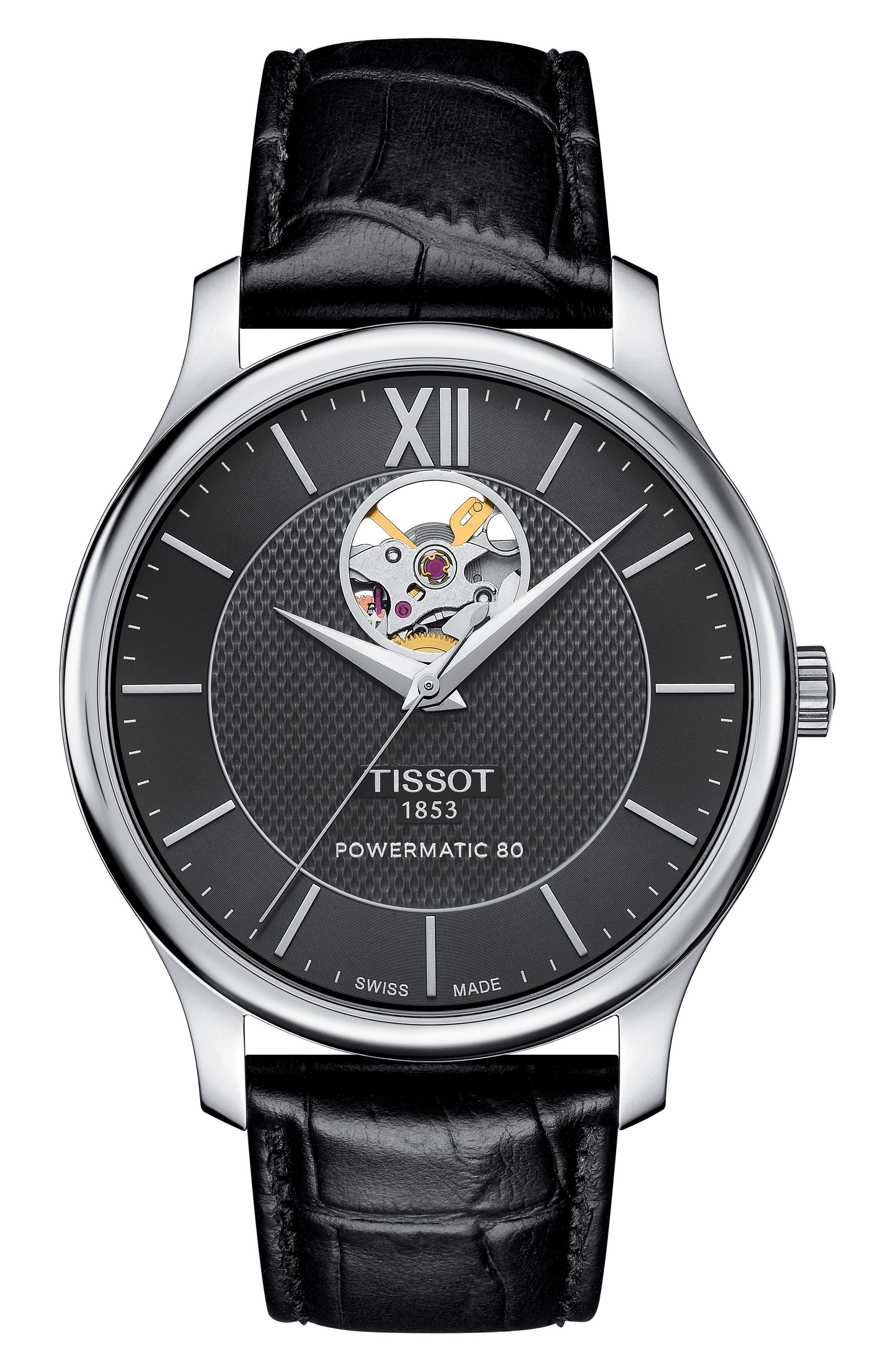 Tradition Leather Strap Watch, 40mm,                         Main,                         color, BLACK/ SILVER