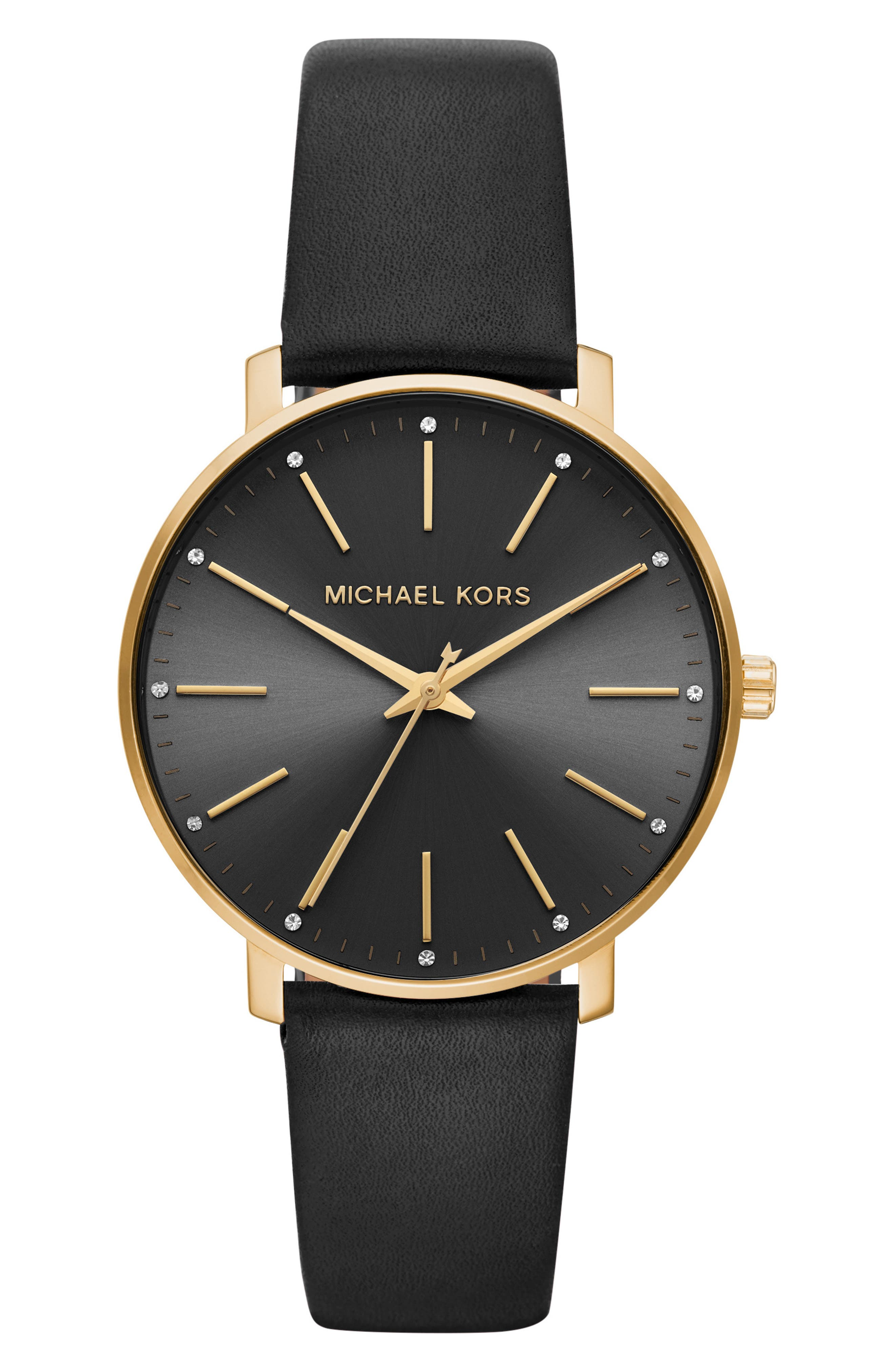 Pyper Leather Strap Watch, 38mm,                         Main,                         color, BLACK/ GOLD